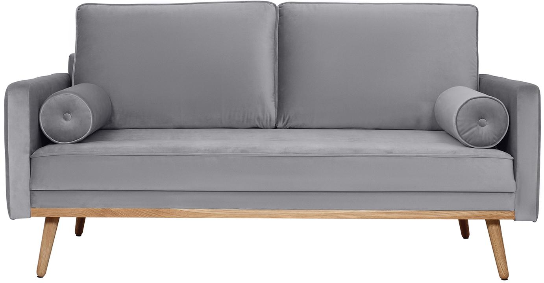 Divano 2 posti in velluto grigio Saint, Rivestimento: velluto (poliestere) 35.0, Struttura: legno di pino massiccio, , Velluto grigio, Larg. 169 x Prof. 87 cm