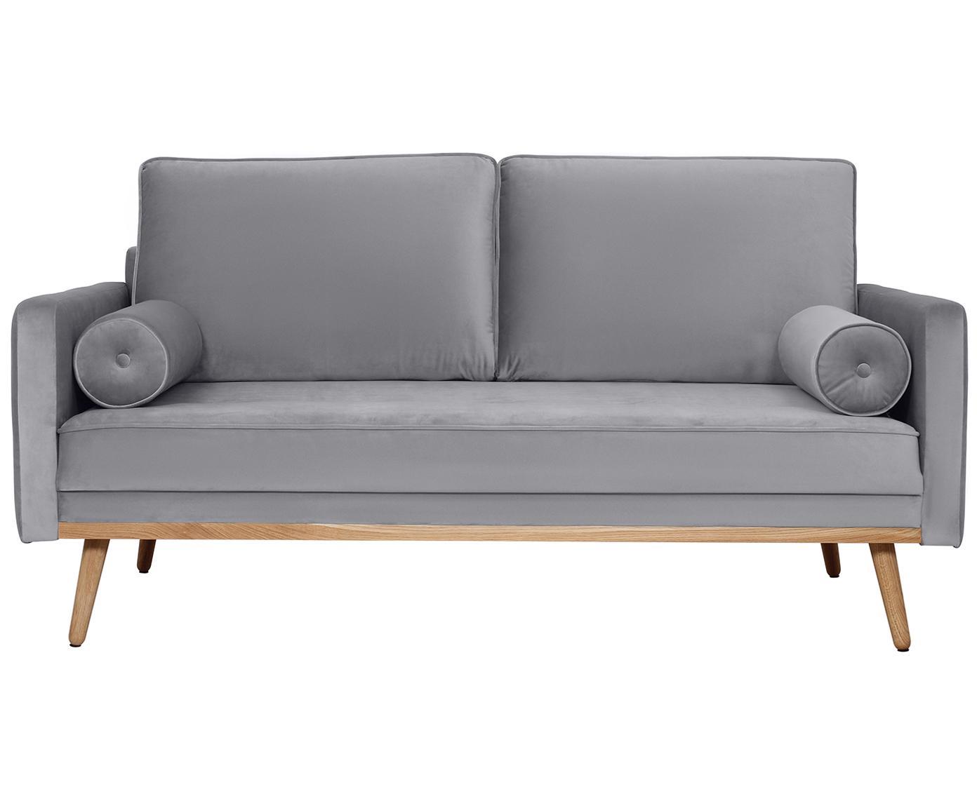Fluwelen bank Saint (2-zits), Bekleding: fluweel (polyester), Frame: massief grenenhout, spaan, Bekleding: grijs. Poten en frame: eikenhoutkleurig, B 169 x D 87 cm