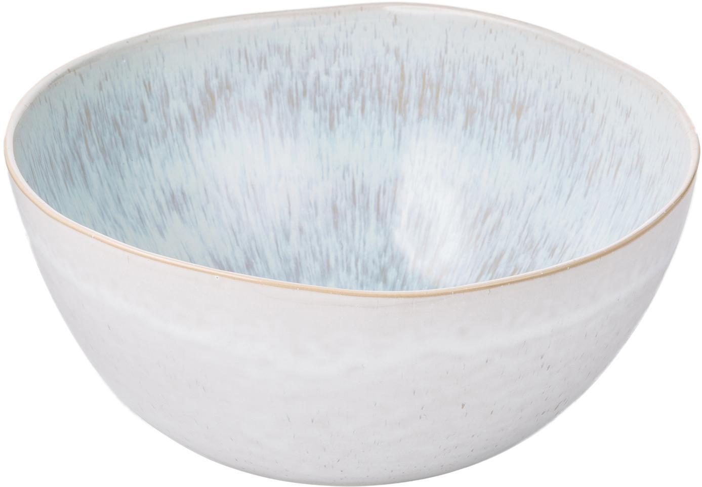 Handbeschilderde saladekom Areia, Keramiek, Lichtblauw, gebroken wit, lichtbeige, Ø 26 x H 12 cm