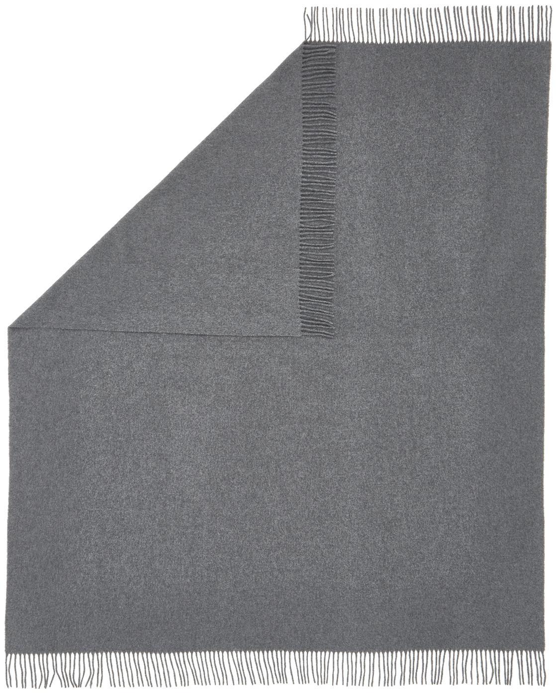 Leichtes Wollplaid Patriciu mit Fransenabschluss, 100% Wolle, Dunkelgrau, 130 x 170 cm
