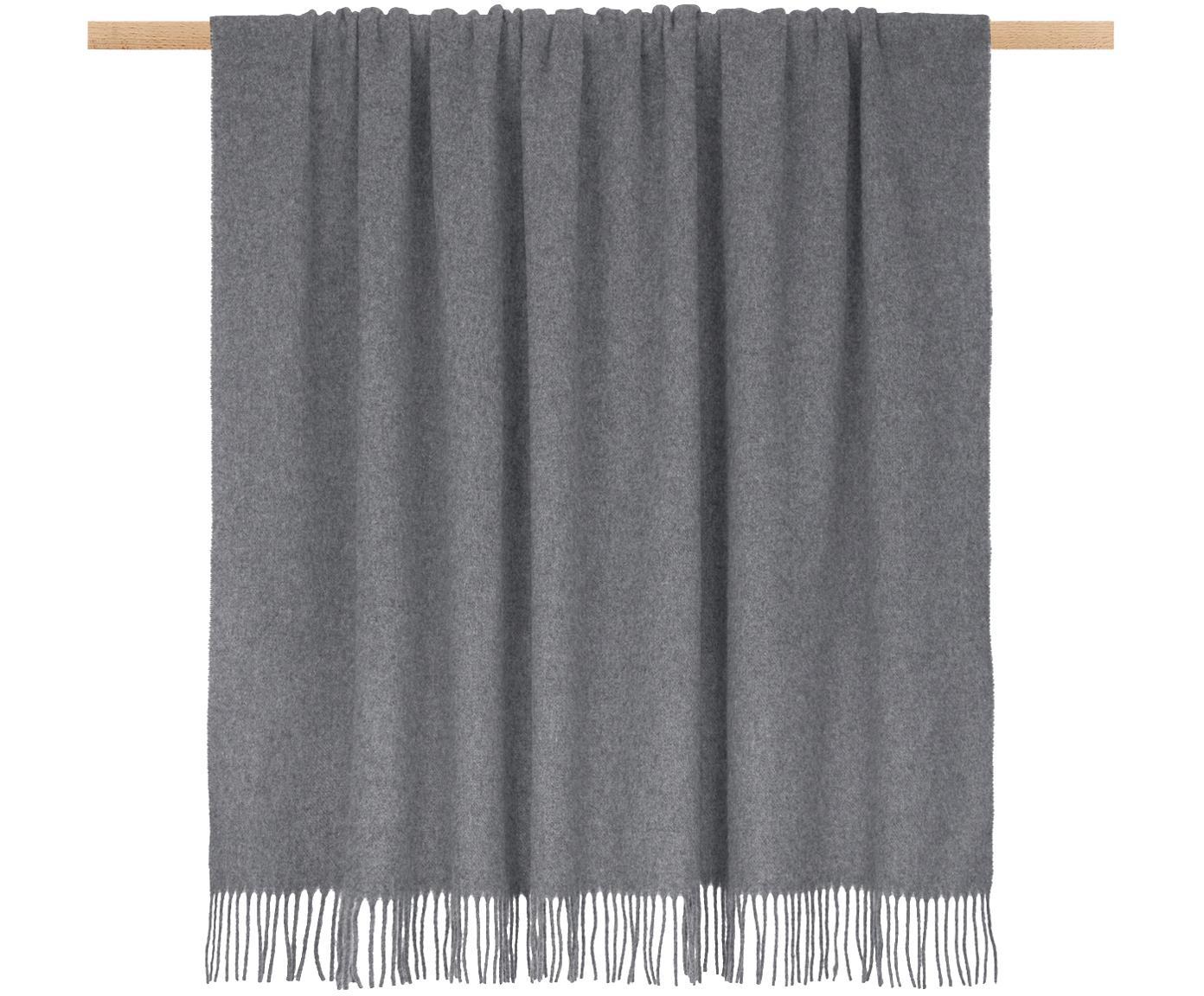 Plaid in lana leggero con finitura a frange Patriciu, 100% lana, Grigio scuro, Larg. 130 x Lung. 170 cm