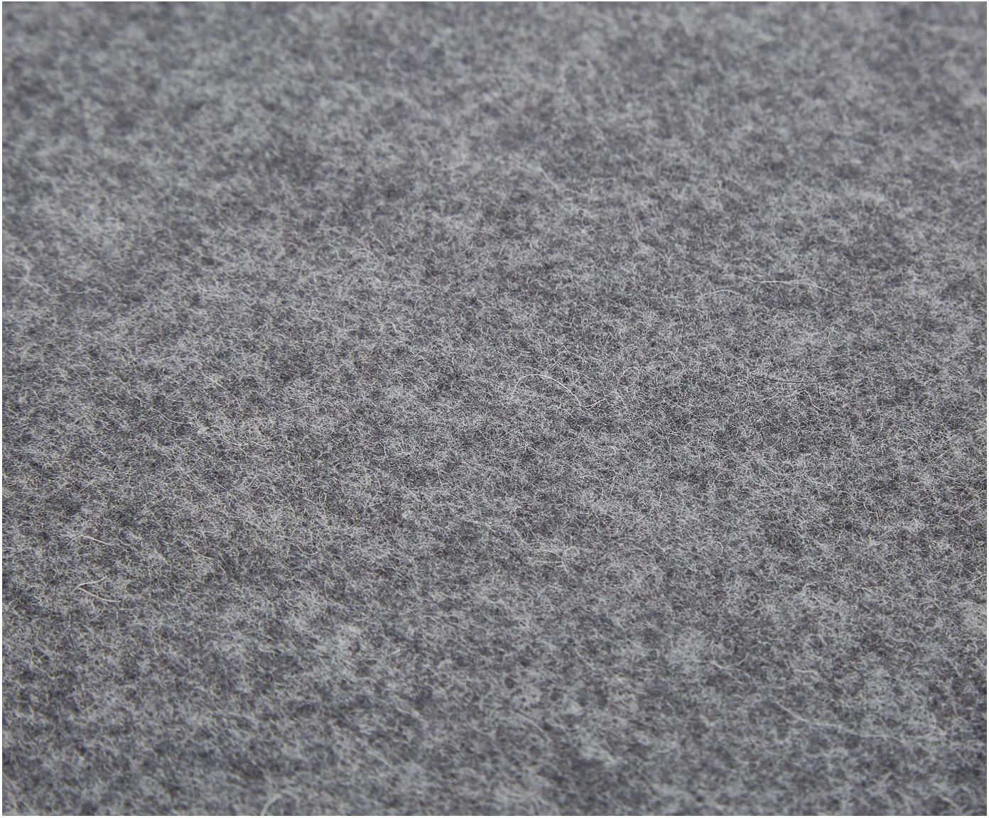 Pled z wełny z frędzlami Patriciu, 100% wełna, Ciemny szary, 130 x 170 cm
