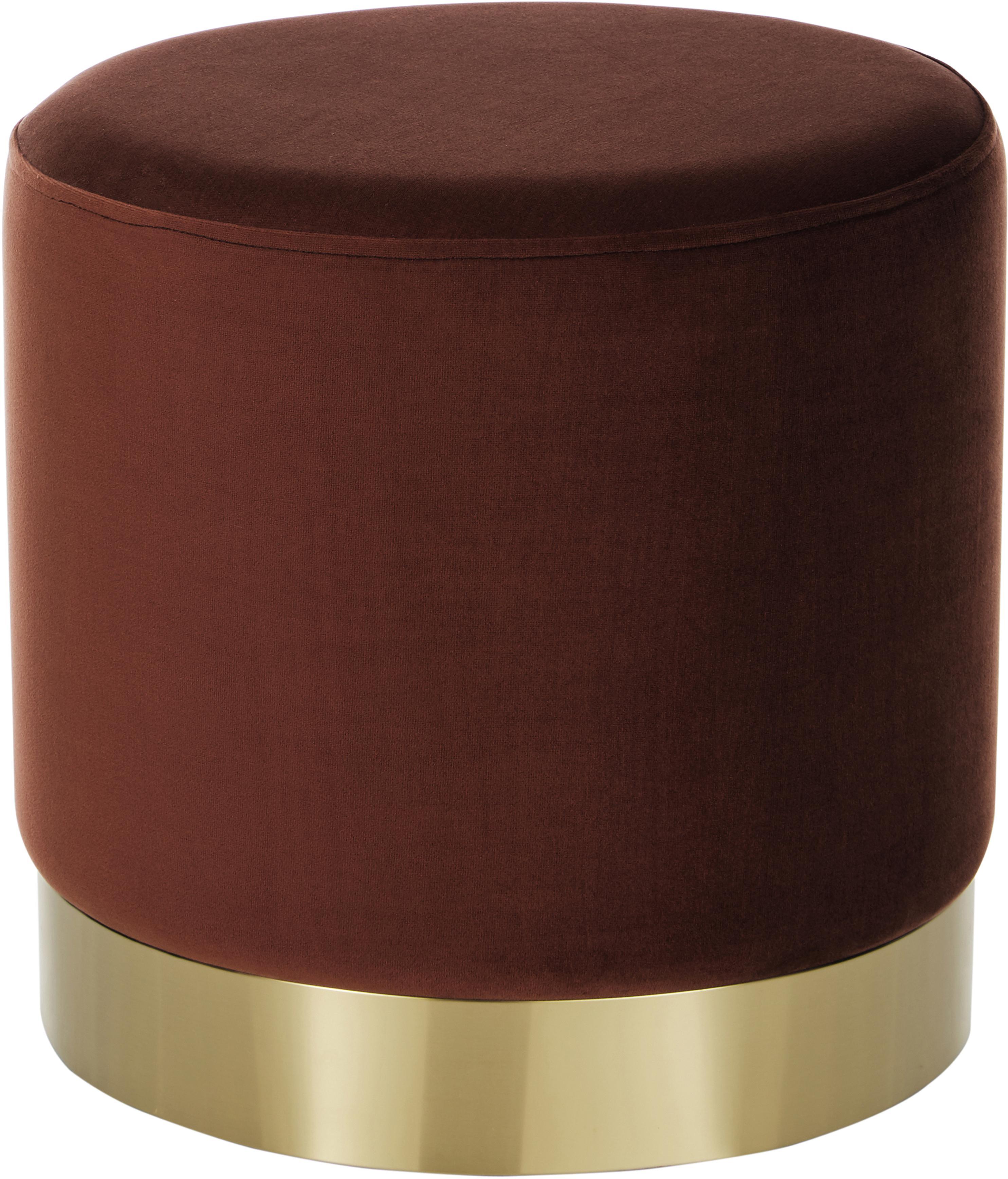 Puf z aksamitu Orchid, Tapicerka: aksamit (poliester) 2500, Tapicerka: rudy Podstawa: odcienie złotego, Ø 38 x W 38 cm