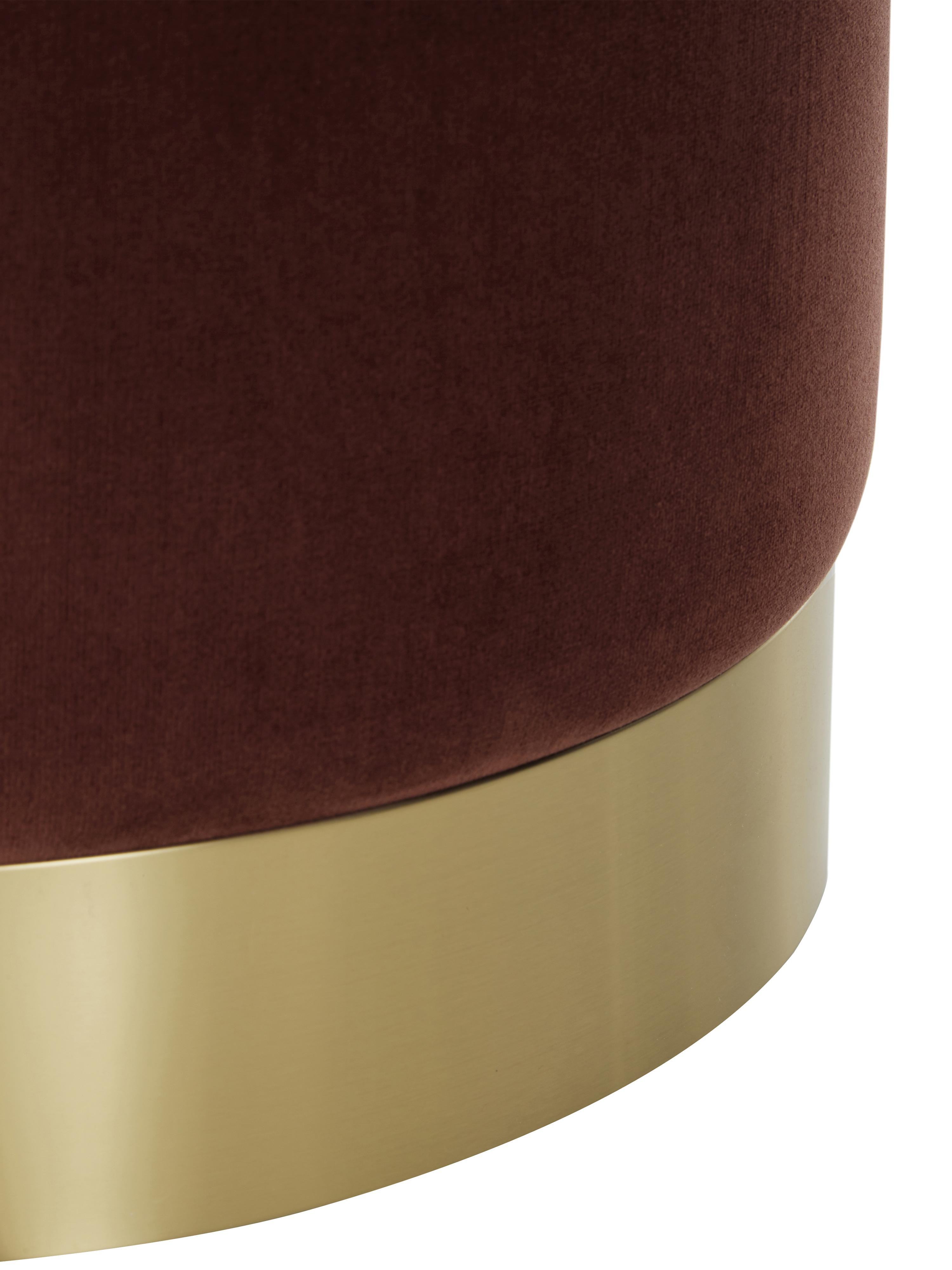 Samt-Hocker Orchid, Bezug: Samt (Polyester) Der hoch, Rahmen: Sperrholz, Bezug: Rostrot Fuß: Goldfarben, Ø 38 x H 38 cm