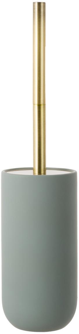 Escobilla de baño Lotus, Recipiente: cerámica, Verde, latón, negro, Ø 10 x Al 21 cm