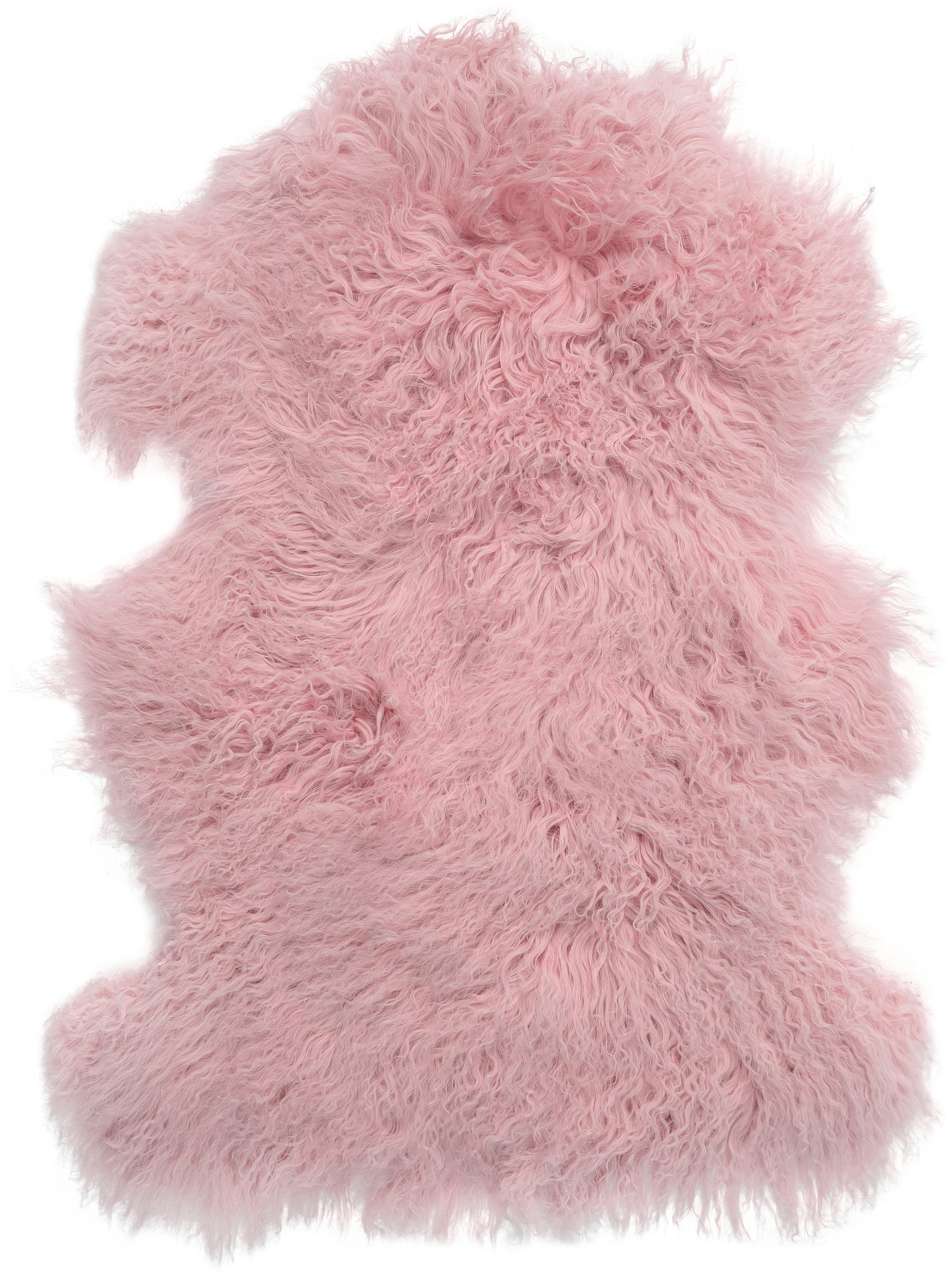 Langhaar-Lammfell Ella, gelockt, Vorderseite: Mongolisches Lammfell, Rückseite: Leder, Rosa, 50 x 80 cm