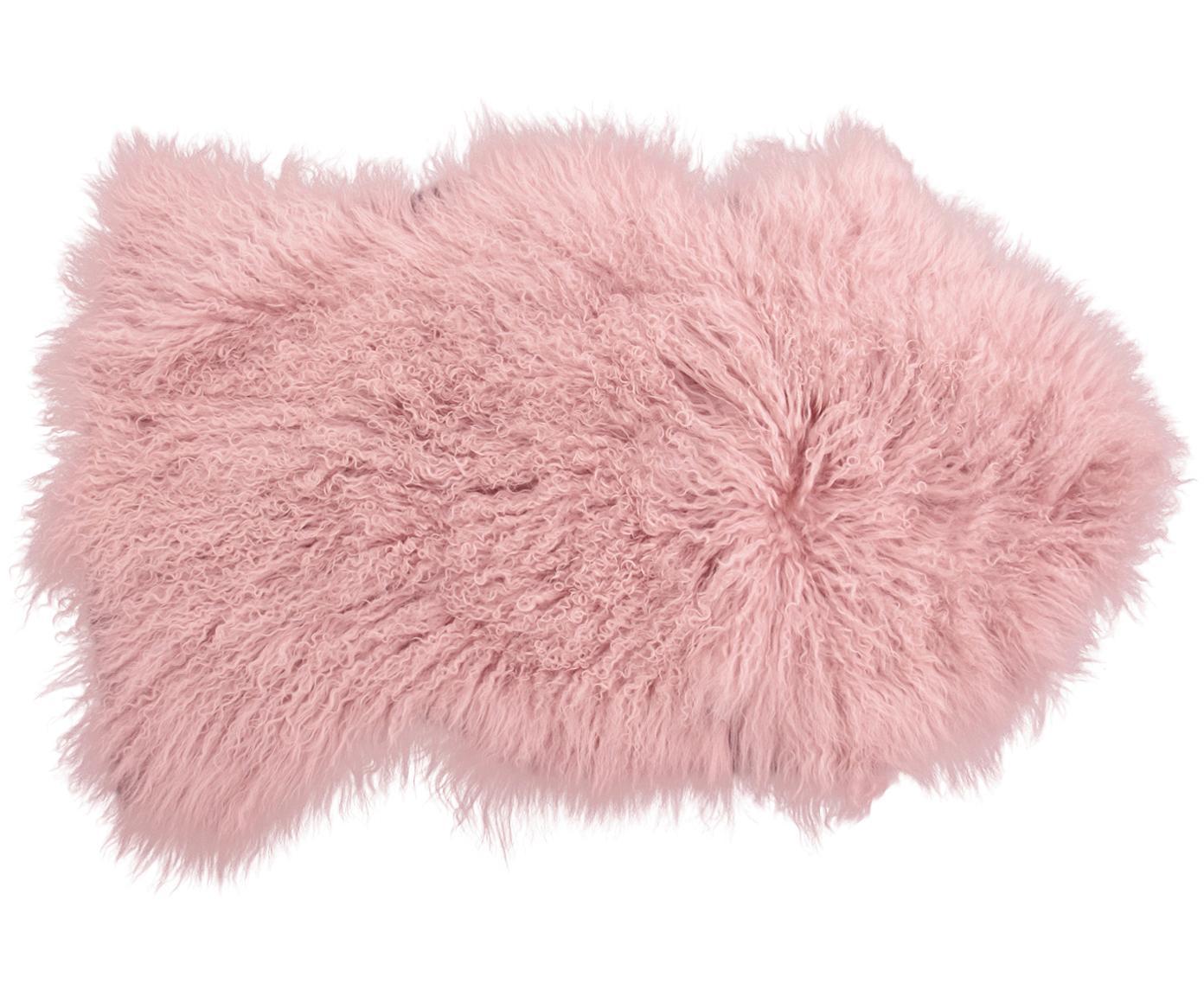 Skóra jagnięca o długim włosiu Ella, Blady różowy, S 50 x D 80 cm