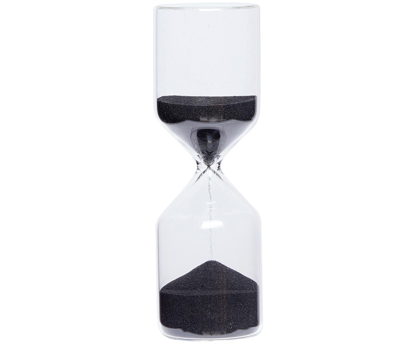 Reloj de arena Fugit, Vidrio, Recipiente: transparente Contenido: negro, Ø 6 x Al 18 cm