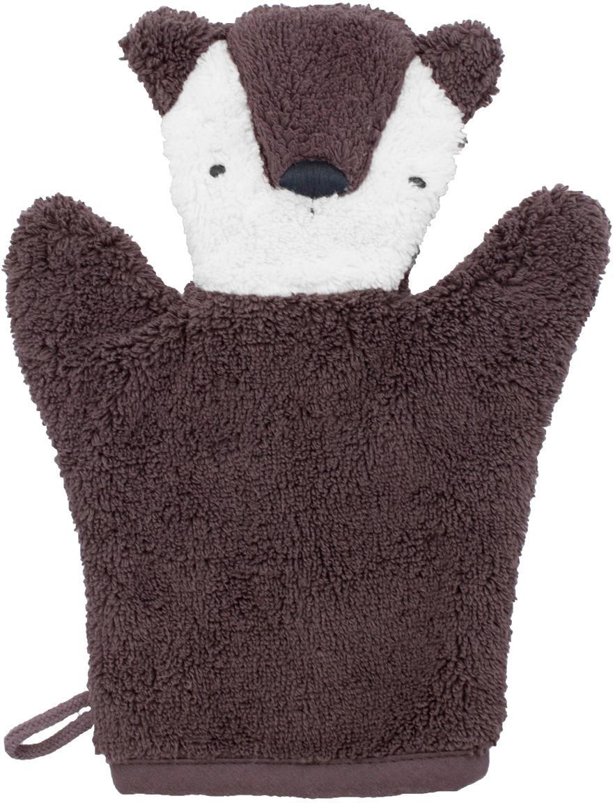 Washandje Bear, Katoen, GOTS-gecertificeerd, Bruin, wit, 20 x 26 cm