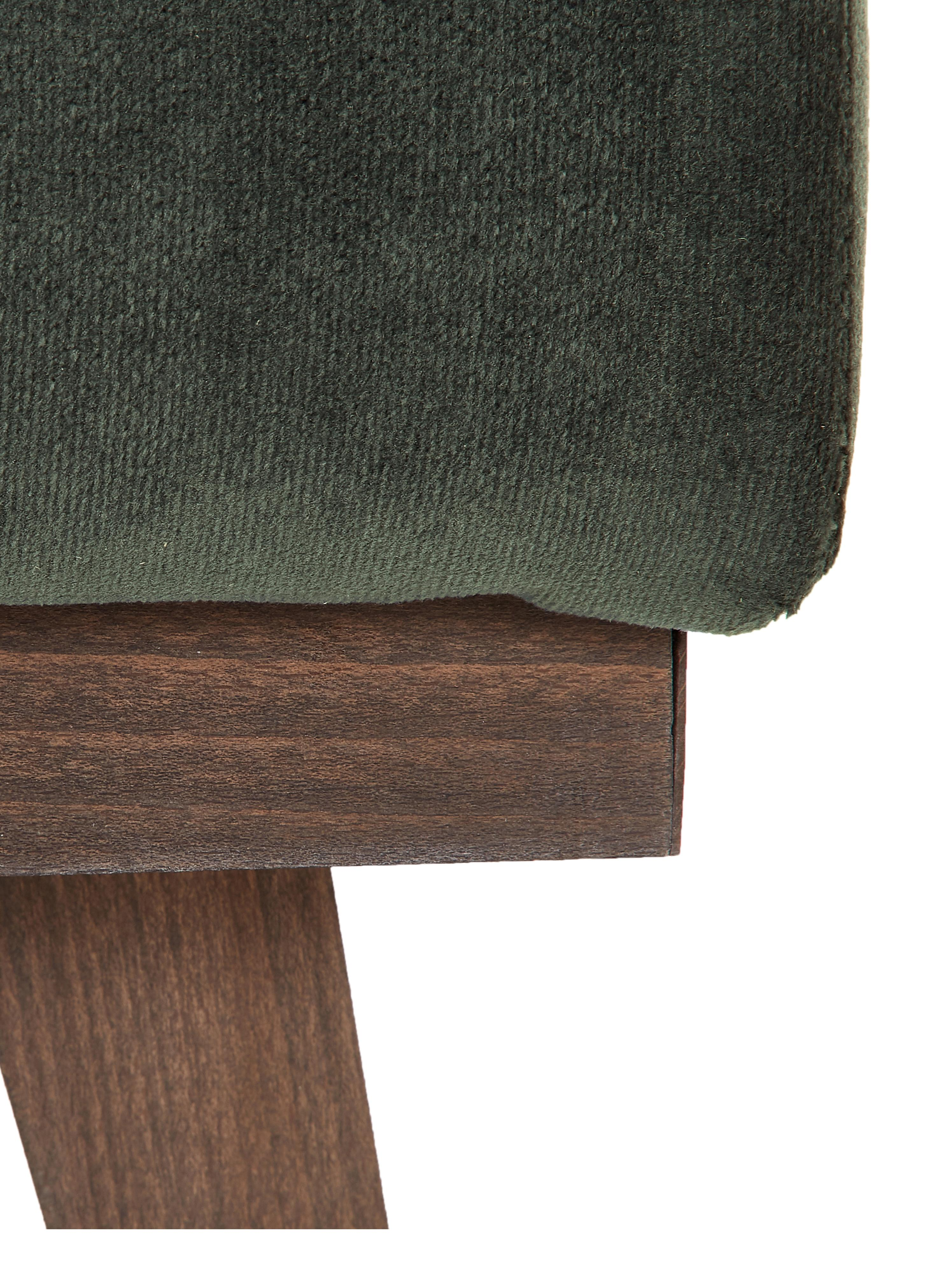 Reposapies de terciopelo Alva, Tapizado: terciopelo (tapizado de p, Estructura: madera de pino maciza, Patas: madera de haya curtida, Verde oliva, An 74 x Al 30 cm