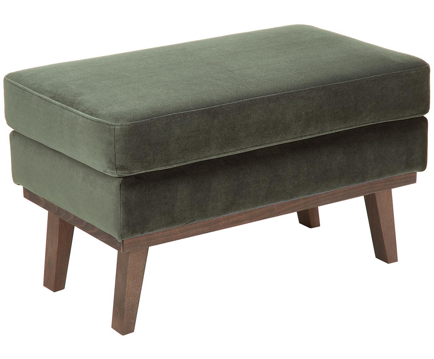 Sofa-Hocker Alva aus Samt, Bezug: Samt (Hochwertiger Polyes, Gestell: Massives Kiefernholz, Füße: Massives Buchenholz, gebe, Oliv, 74 x 30 cm