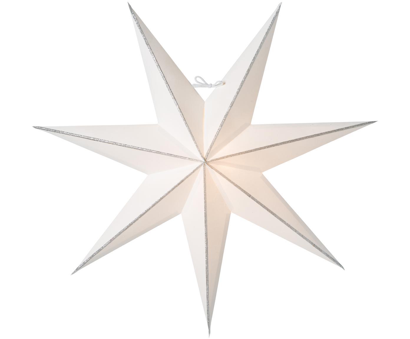 Weihnachtsstern Linje, Papier, Weiß, Silberfarben, Ø 60 cm