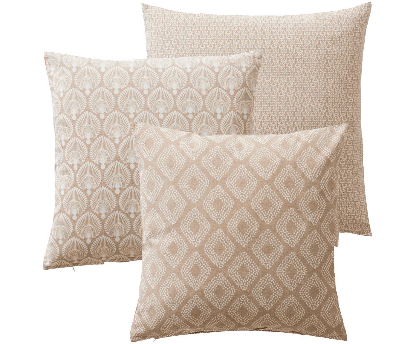 Gemustertes Kissenhüllen 3er Set Cousin in Beige, 100% Baumwolle, Beige, Weiß, 45 x 45 cm