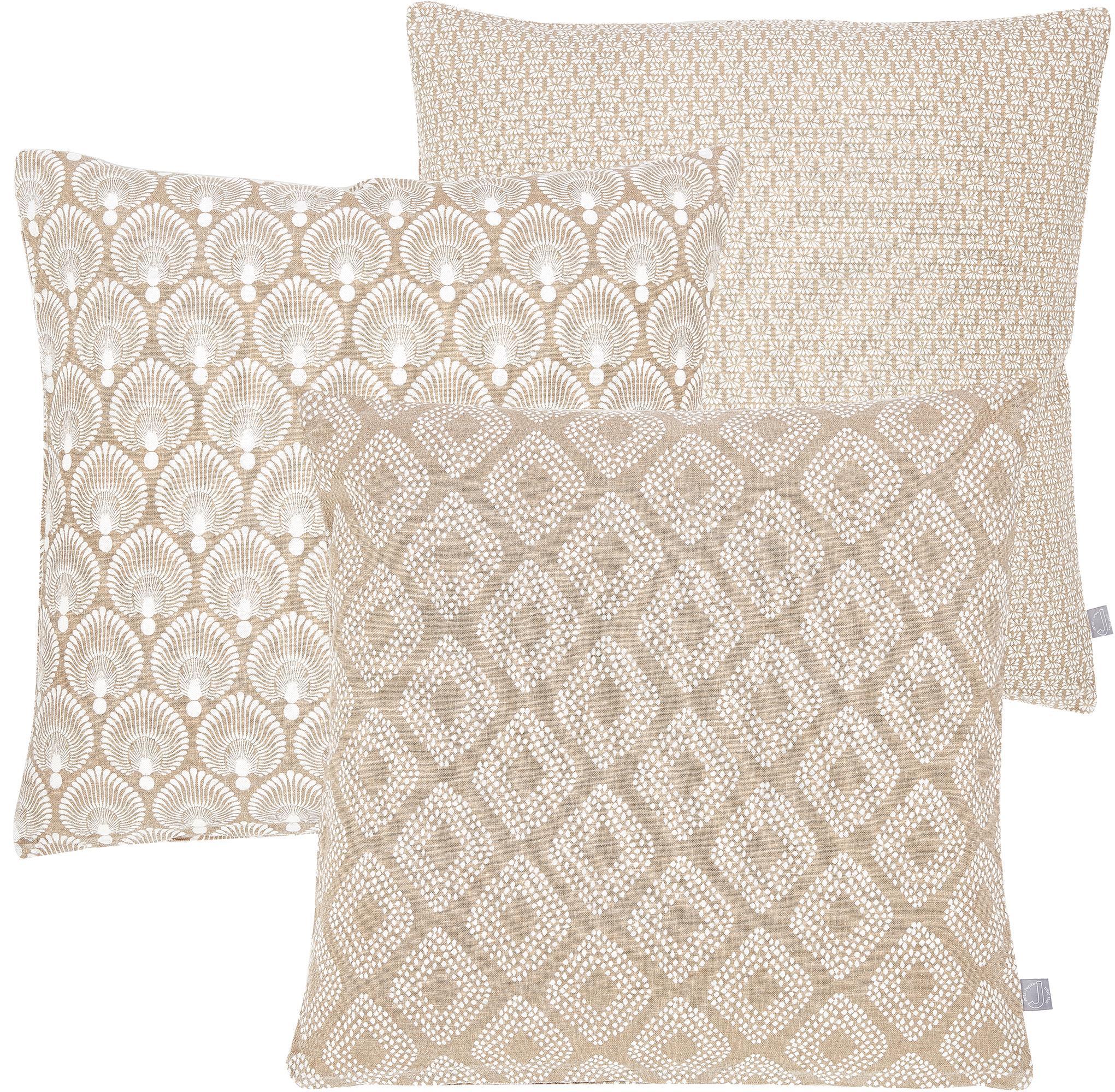 Set de fundas de cojïn Cousin, 3pzas., Algodón, Beige, blanco, An 45 x L 45 cm