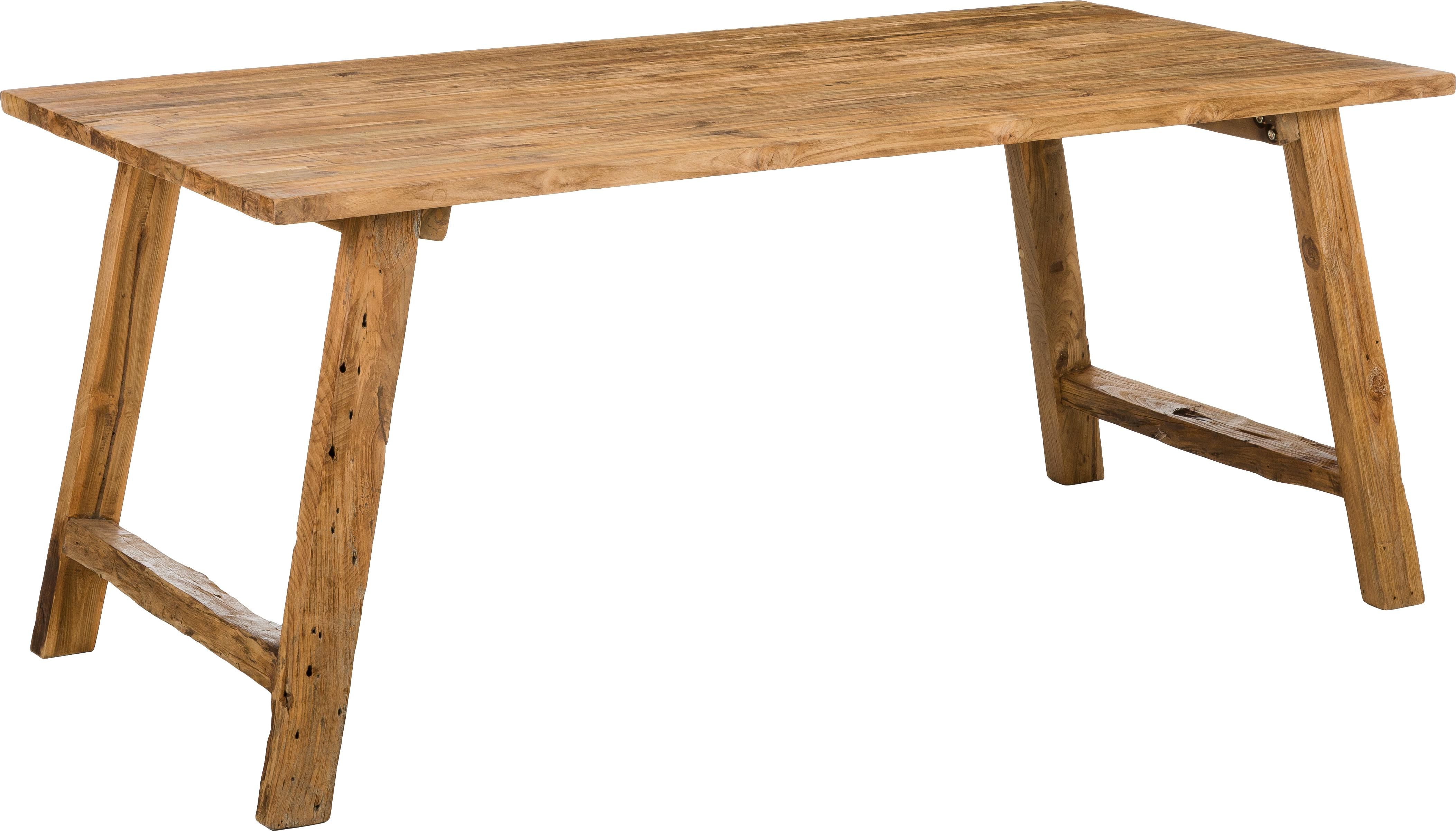 Massief houten eettafel Lawas van teakhout, Natuurlijk teakhout, Teakhoutkleurig, B 180 x D 90 cm