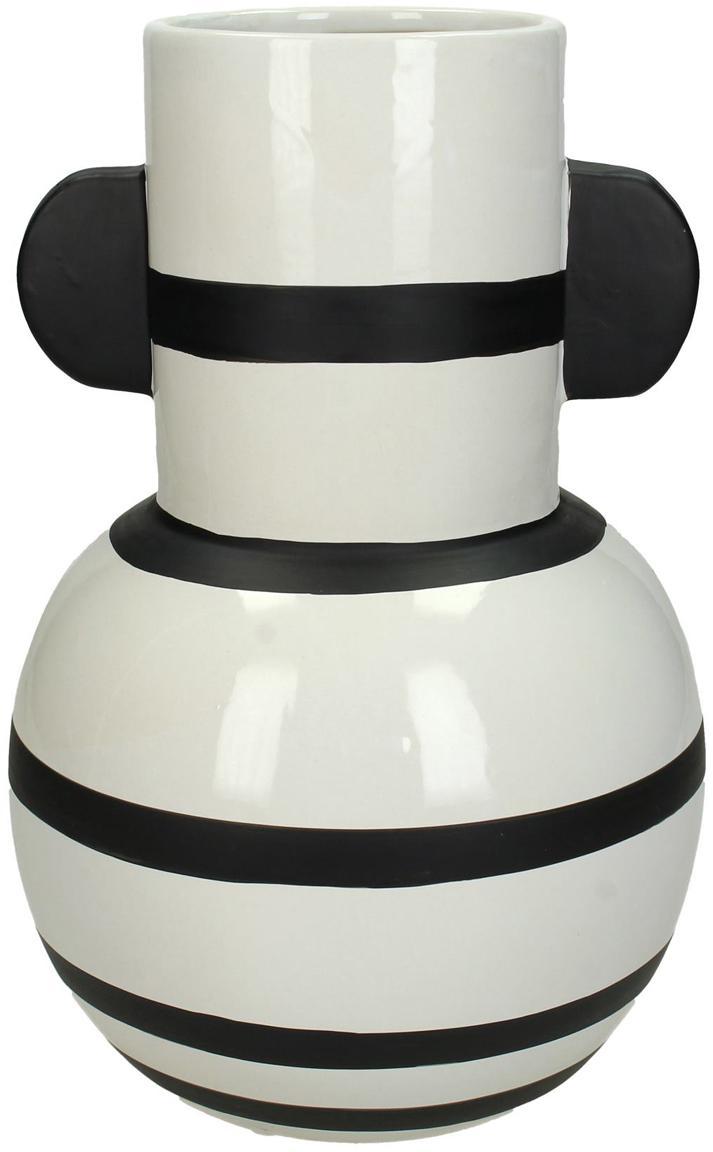 Moderne Vase Amola aus Steingut, Steingut, Weiß, Schwarz, Ø 17 x H 26 cm