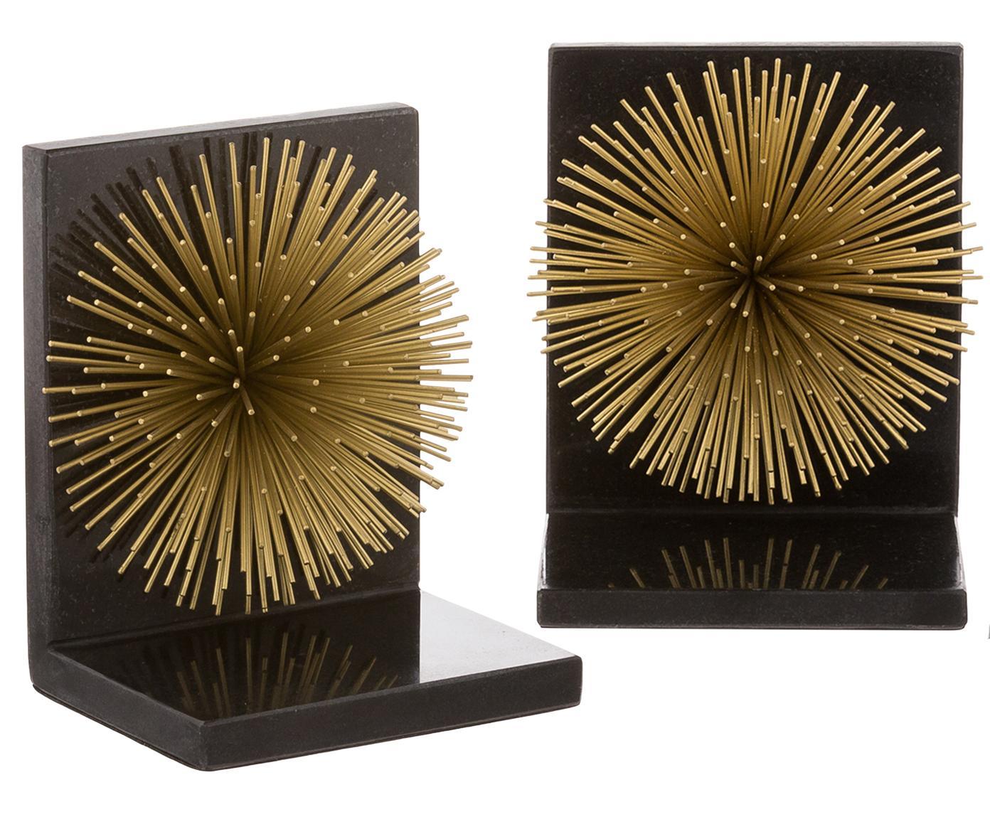 Buchstützen Marburch, 2 Stück, Unterseite: Filz, Buchstützen: Schwarzer Marmor, Detail: Goldfarben, Unterseite: Filz, 14 x 17 cm