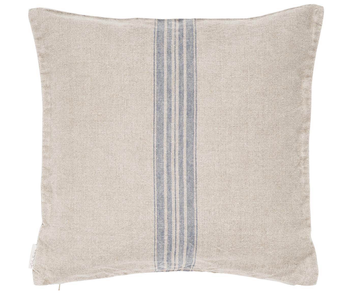 Beige Leinen-Kissenhülle Jara mit blauen Streifen, Beige, Blau, 40 x 40 cm