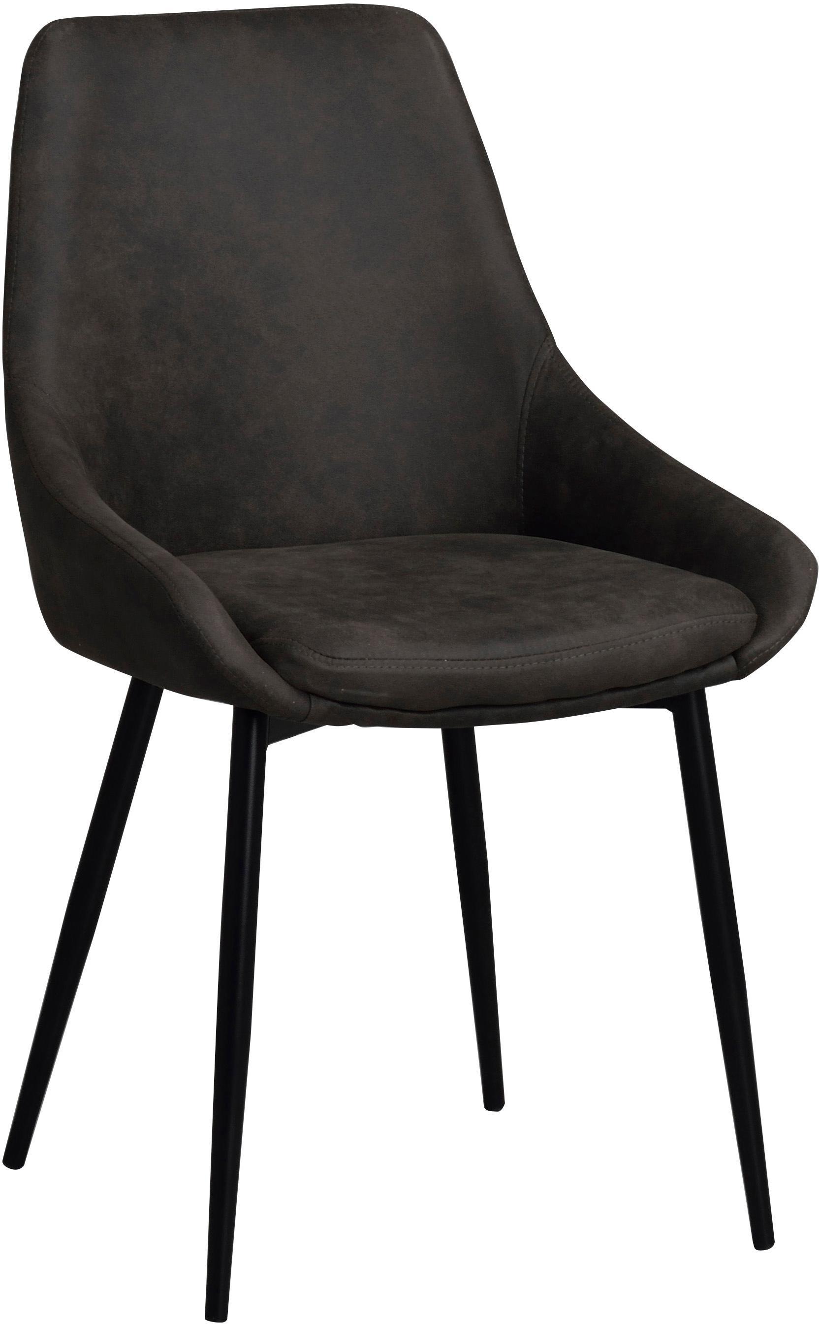 Polsterstühle Sierra, 2 Stück, Bezug: Polyester in Wildleder-Op, Beine: Metall, lackiert, Dunkelgrau, B 49 x T 55 cm