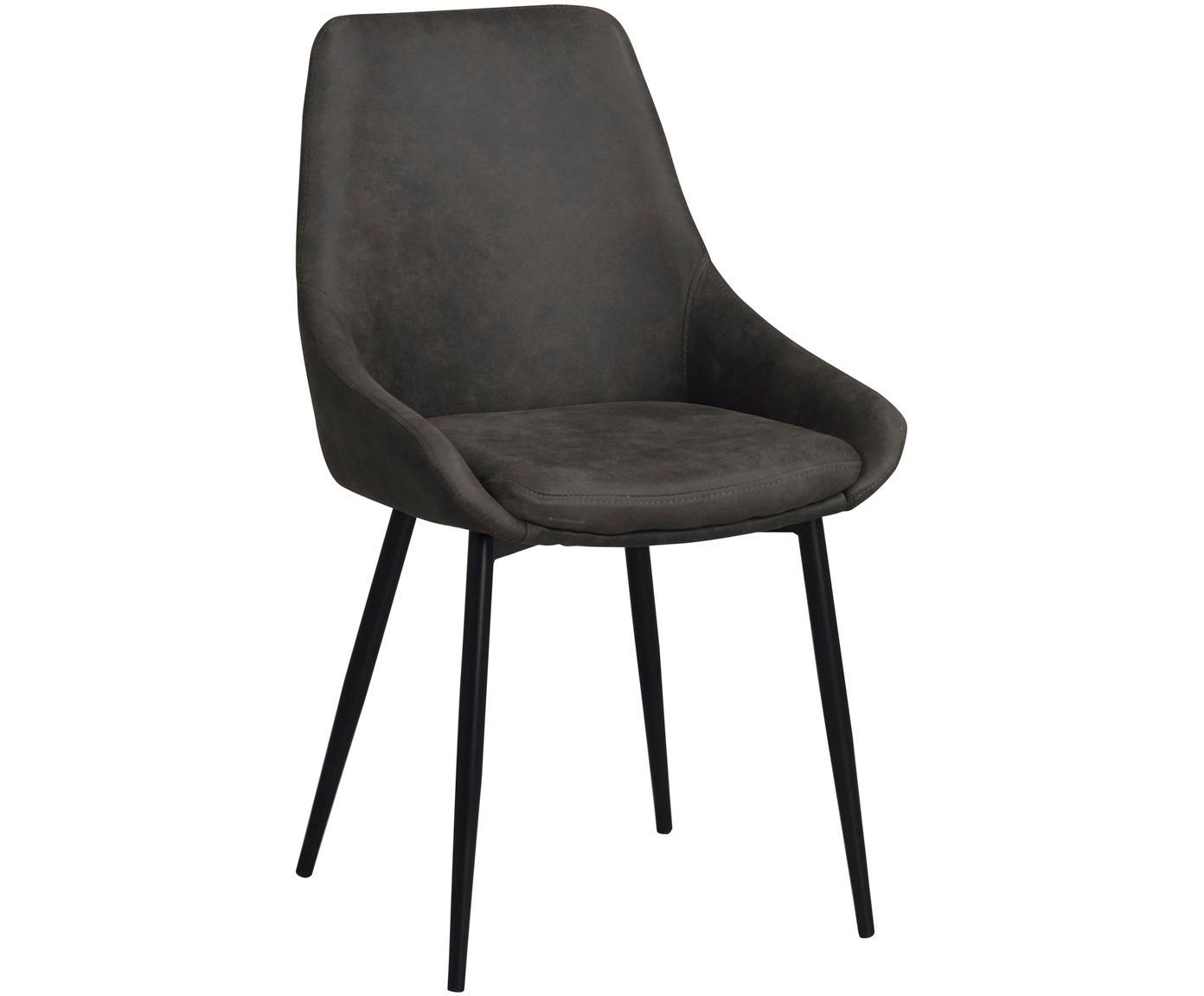 Krzesło tapicerowane Sierra, 2 szt., Tapicerka: poliester imitujący zamsz, Nogi: metal lakierowany, Ciemny szary, S 49 x G 55 cm