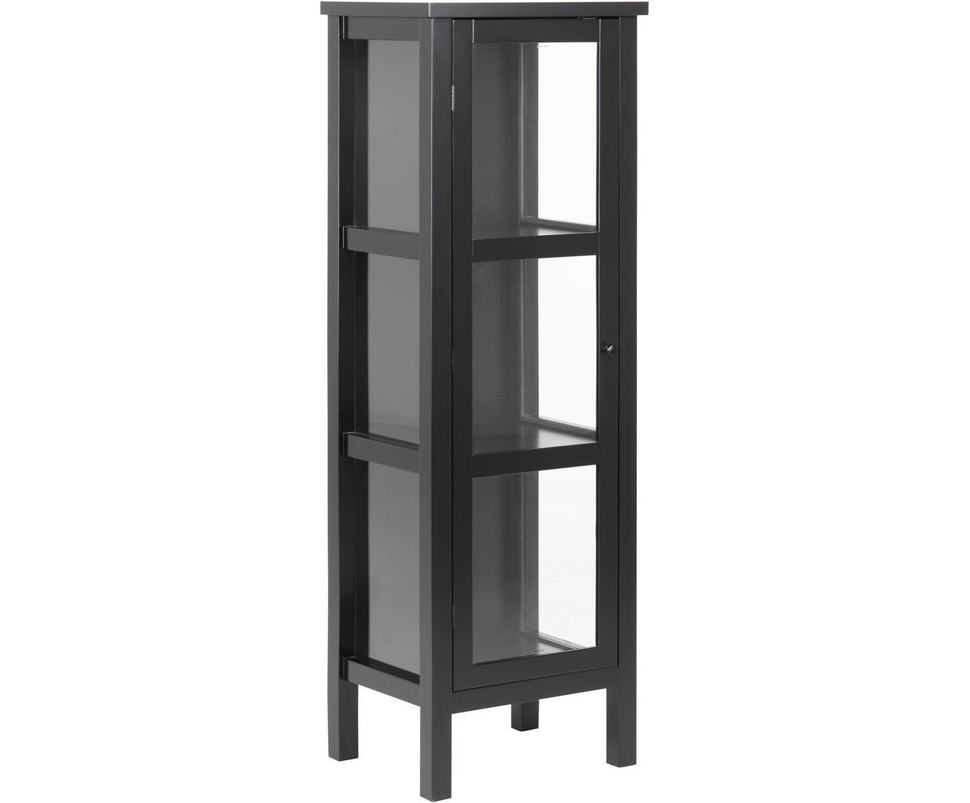 Vitrinekast Eton met houten frame, Frame: gelakt MDF, Zwart, 36 x 137 cm