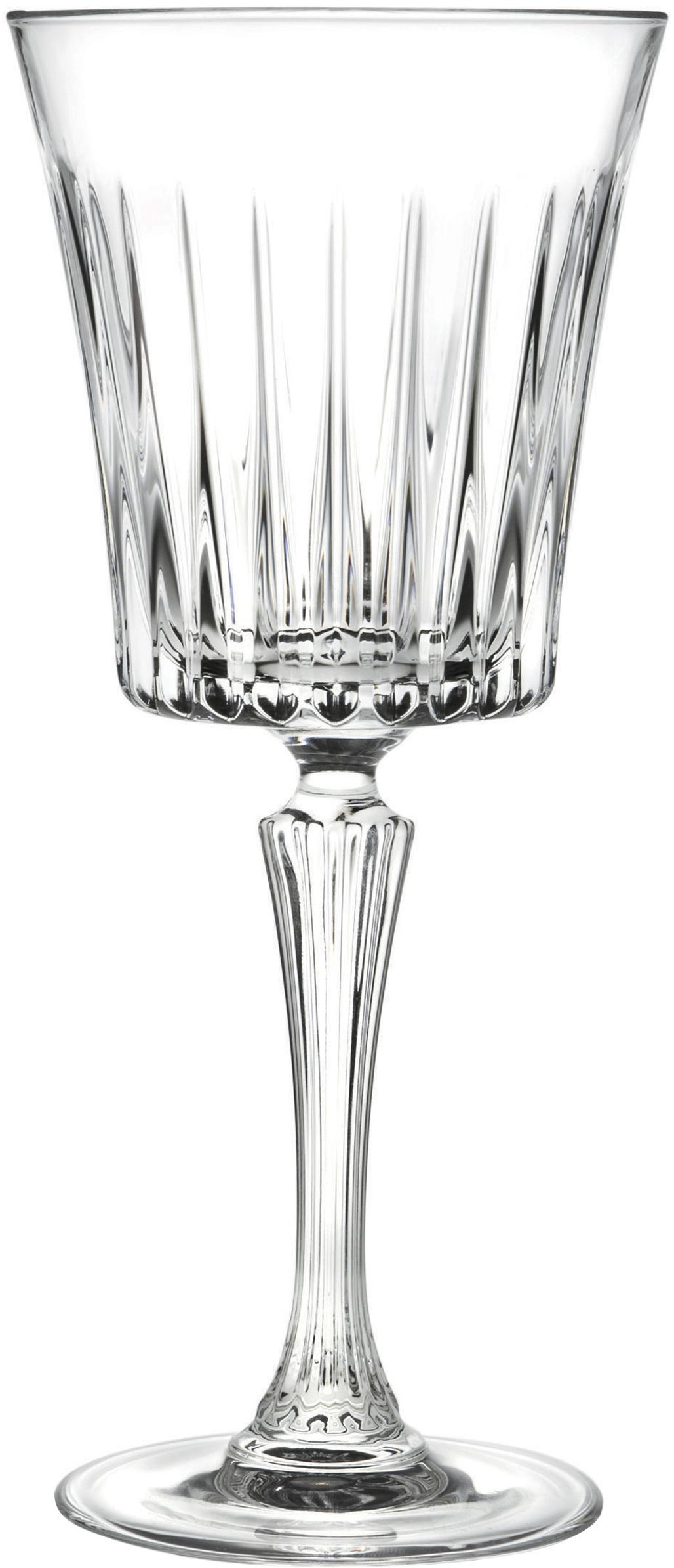 Kristall-Weißweingläser Timeless mit Rillenrelief, 6er-Set, Kristallglas, Transparent, Ø 8 x H 20 cm