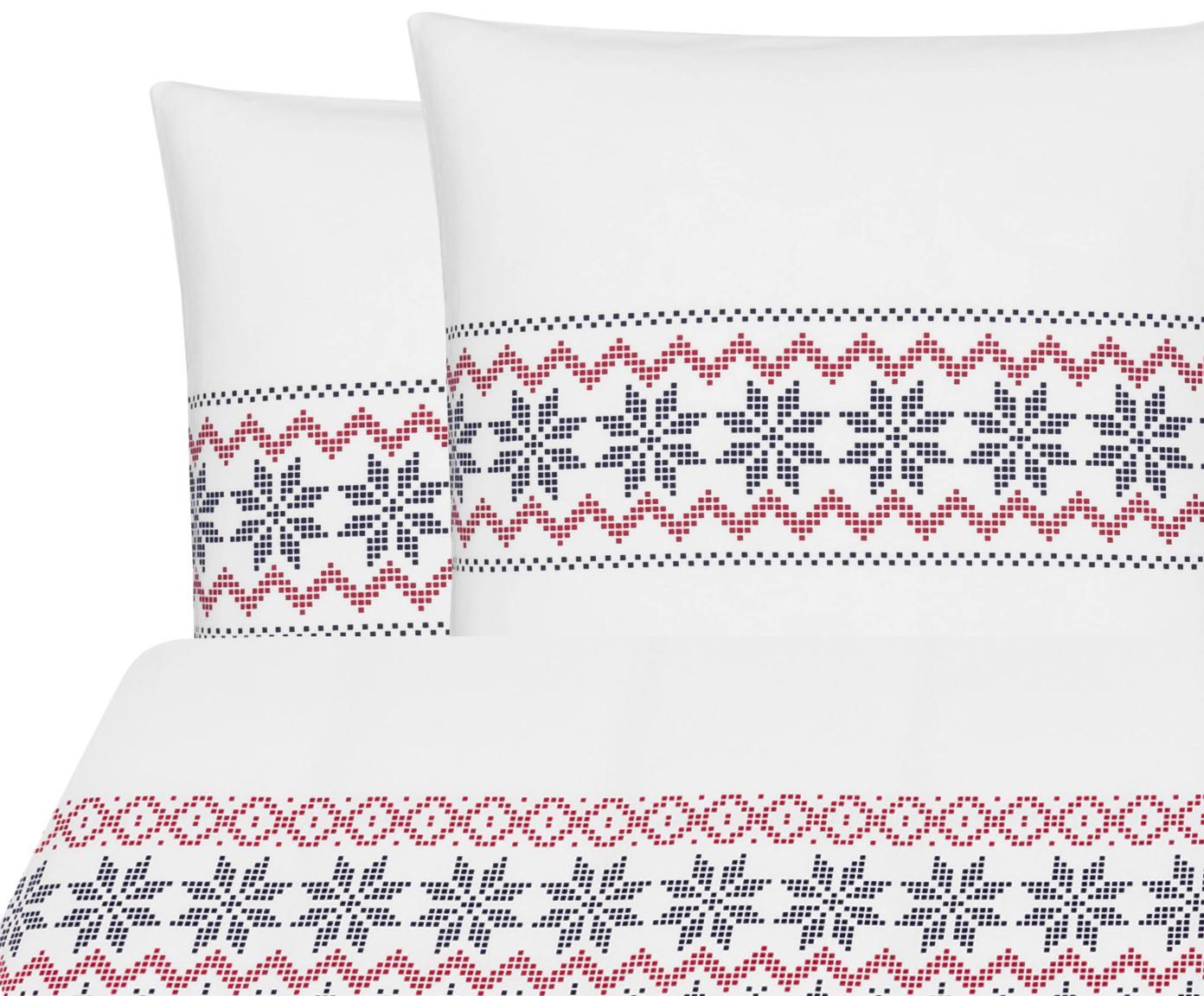 Flanell-Bettwäsche Finja mit Muster, Webart: Flanell Flanell ist ein s, Weiss, Dunkelblau, Rot, 200 x 200 cm + 2 Kissen 80 x 80 cm