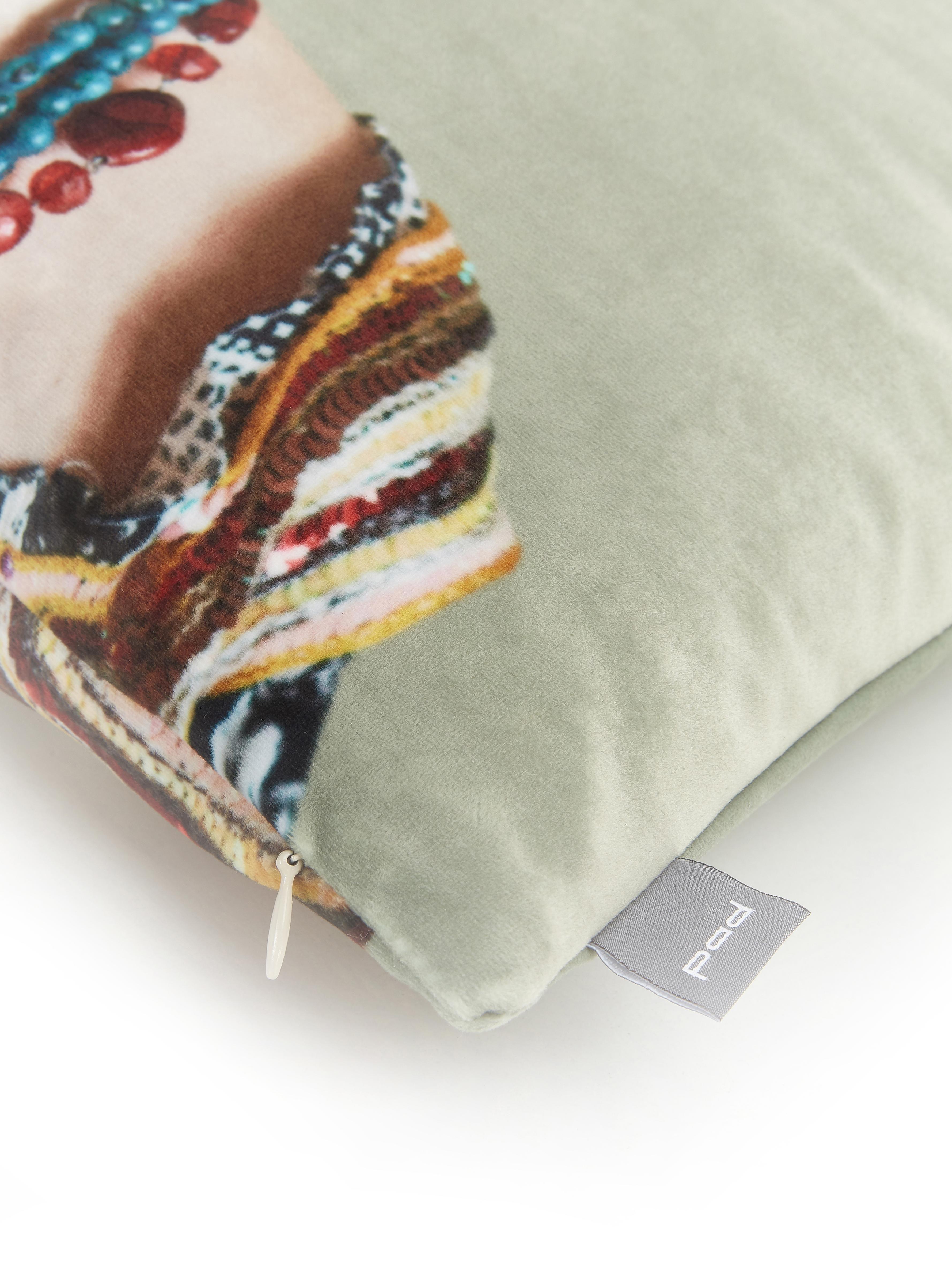 Federa arredo in velluto Rosanna, 100% velluto di poliestere, Menta, Larg. 45 x Lung. 45 cm