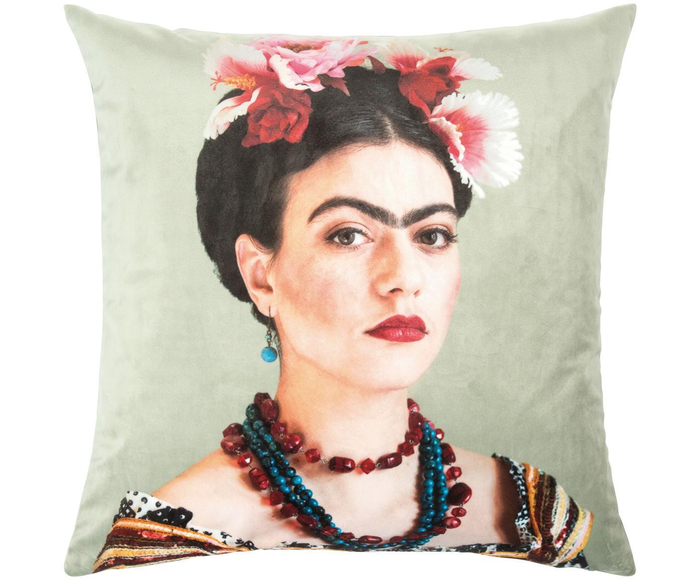 Fluwelen kussenhoes Frida, Polyester fluweel, Mintgroen, 45 x 45 cm