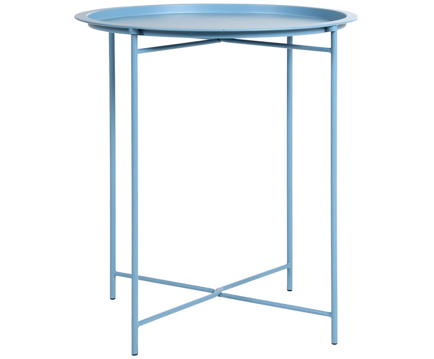 Tavolino-vassoio in metallo Sangro, Acciaio, verniciato, Blu, Ø 46 x Alt. 52 cm