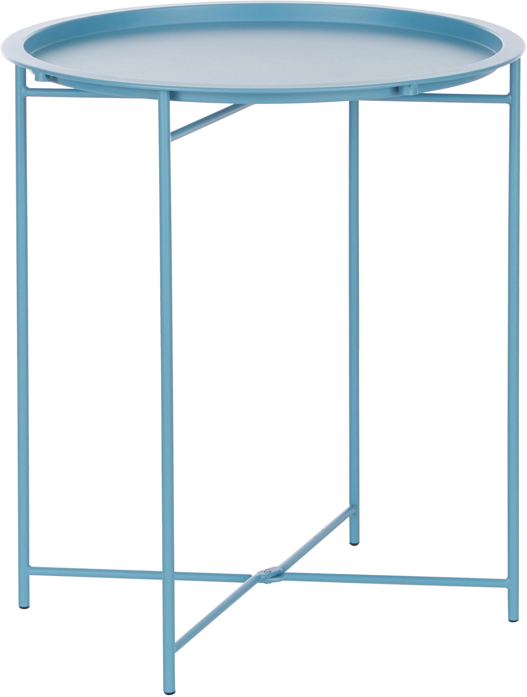 Mesa auxiliar con bandeja extraíble de metal Sangro, Metal con pintura en polvo, Azul, Ø 46 x Al 52 cm