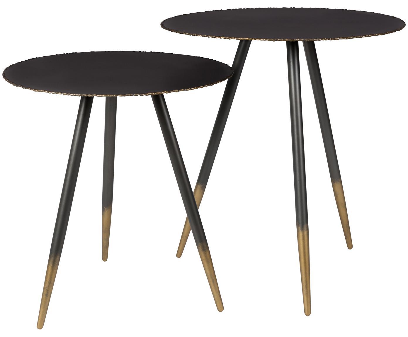 Set de mesas auxiliares Stalwart, 2uds., Negro, dorado, Tamaños diferentes