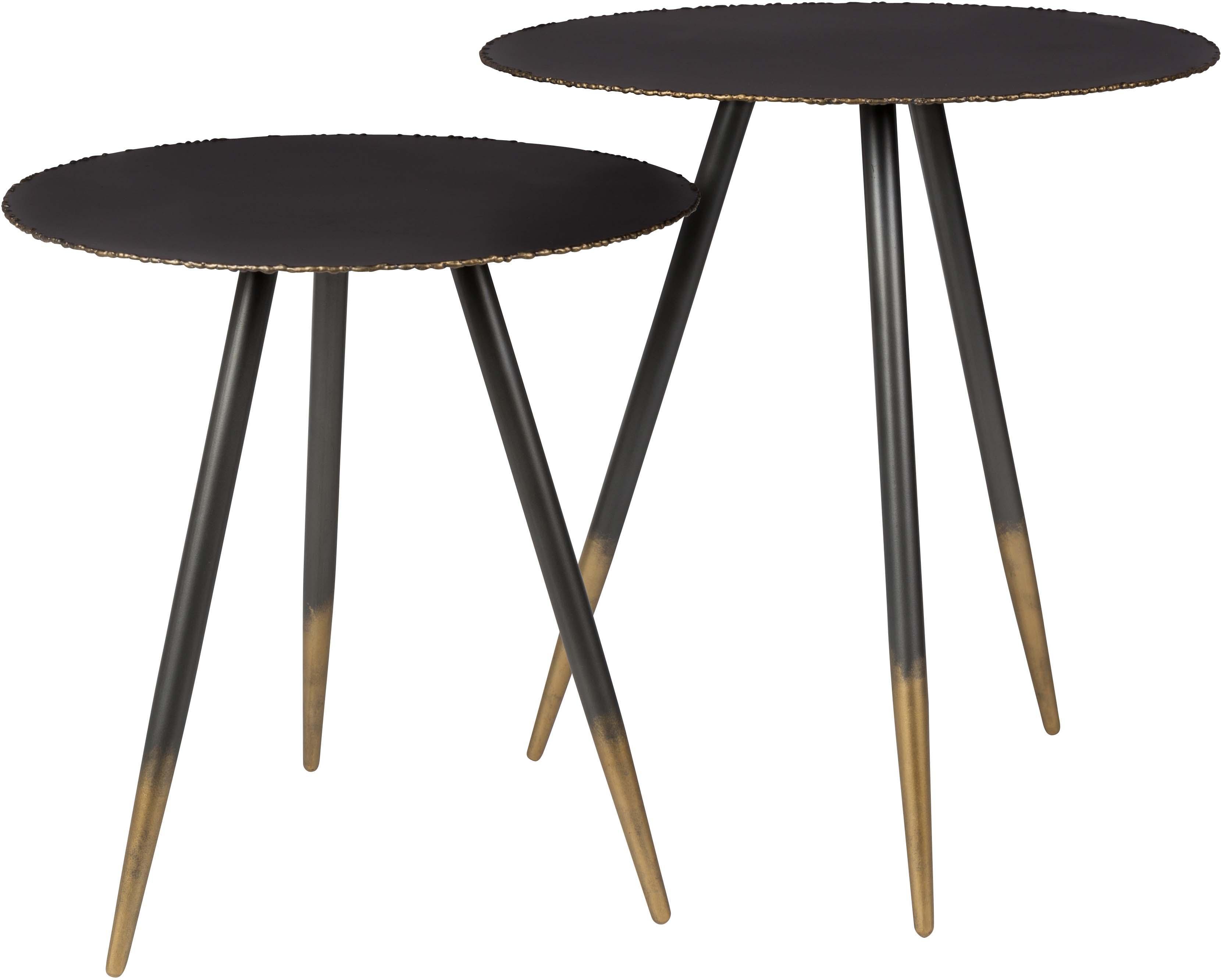 Komplet stolików pomocniczych Stalwart, 2 elem., Czarny, złoty, Różne rozmiary