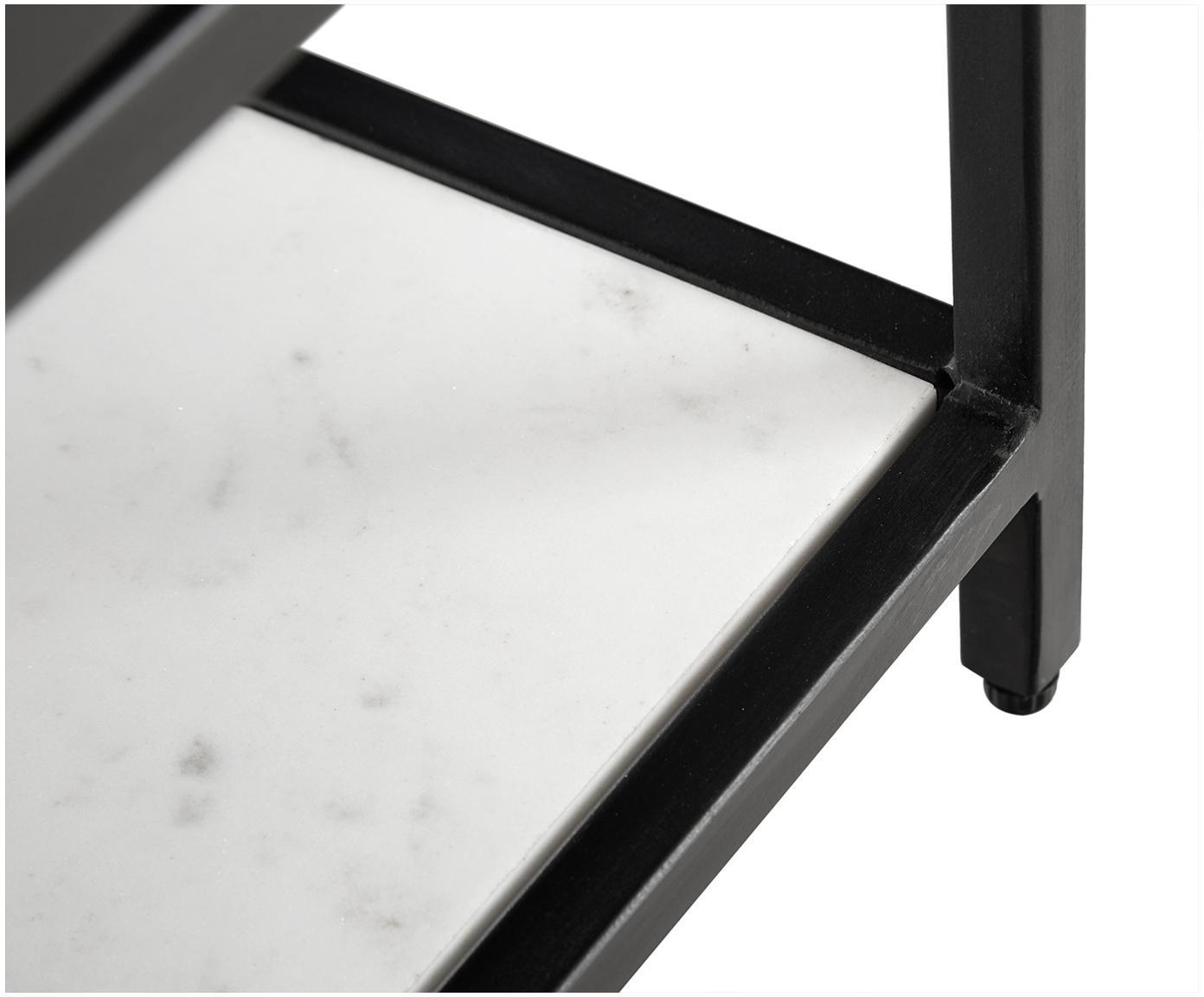 Lowboard Lenny met marmeren plank, Frame: MDF met gelakt mangohoutf, Plank: marmer, Frame: gepoedercoat metaal, Zwart, wit-grijs marmer, 150 x 55 cm