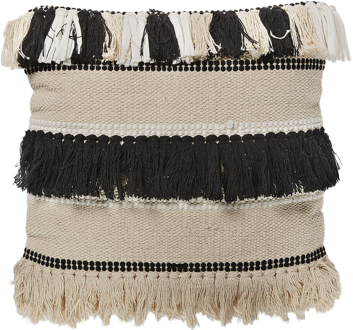 Boho kussenhoes Franny met franjes, Katoen, Wit, ecru, zwart, 45 x 45 cm