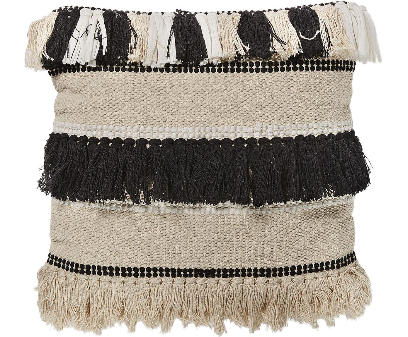 Federa Boho in cotone con frange Franny, Cotone, Bianco, ecru, nero, Larg. 45 x Lung. 45 cm