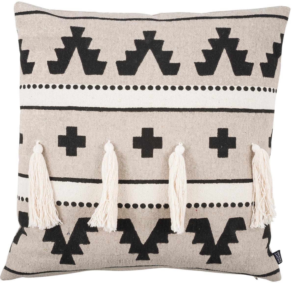 Ethno kussenhoes Wildheart met kwastjes, 100% katoen, Beige, crèmekleurig, zwart, 50 x 50 cm