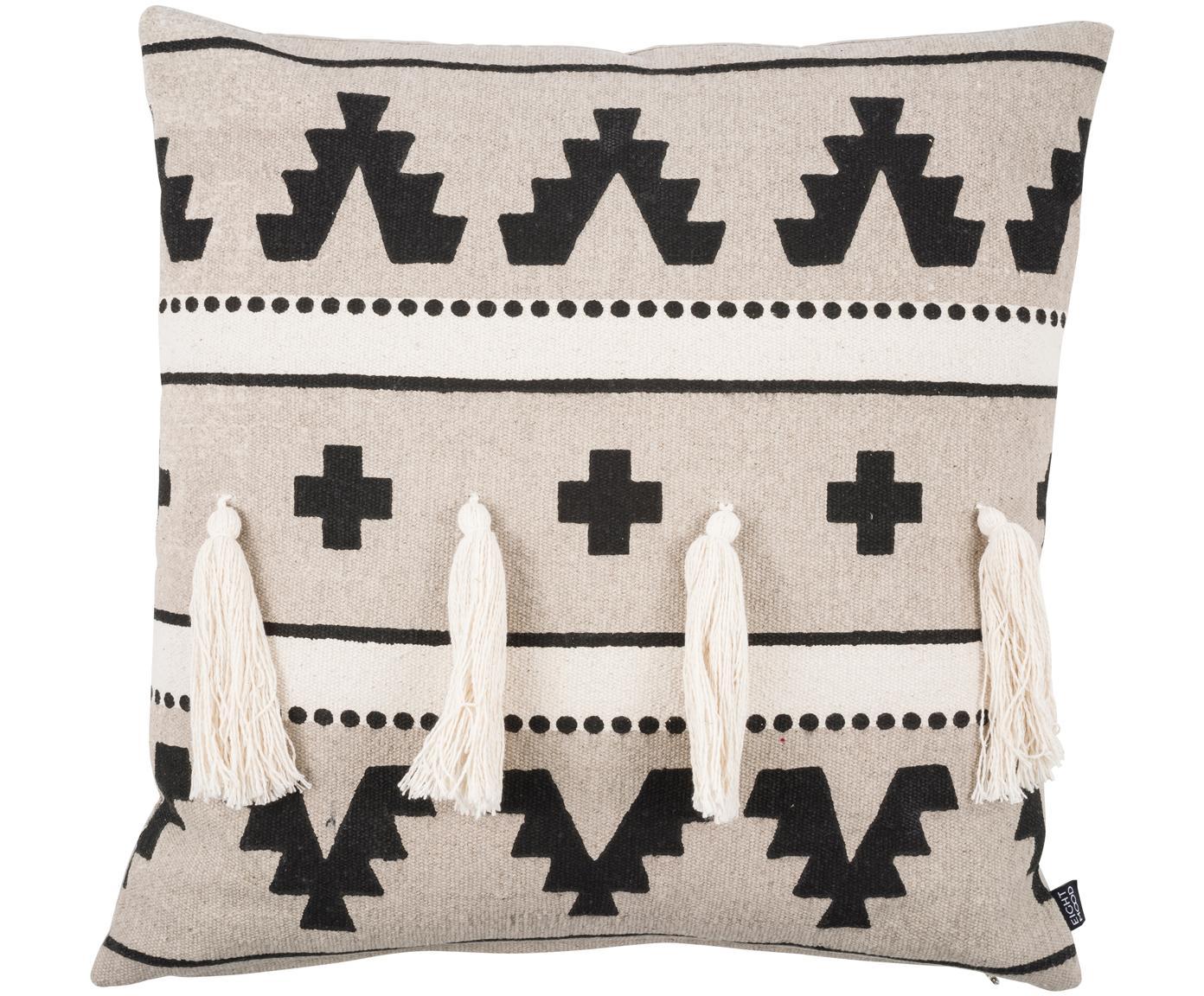 Ethno kussenhoes Wildheart met kwastjes, Katoen, Beige, crèmekleurig, zwart, 50 x 50 cm