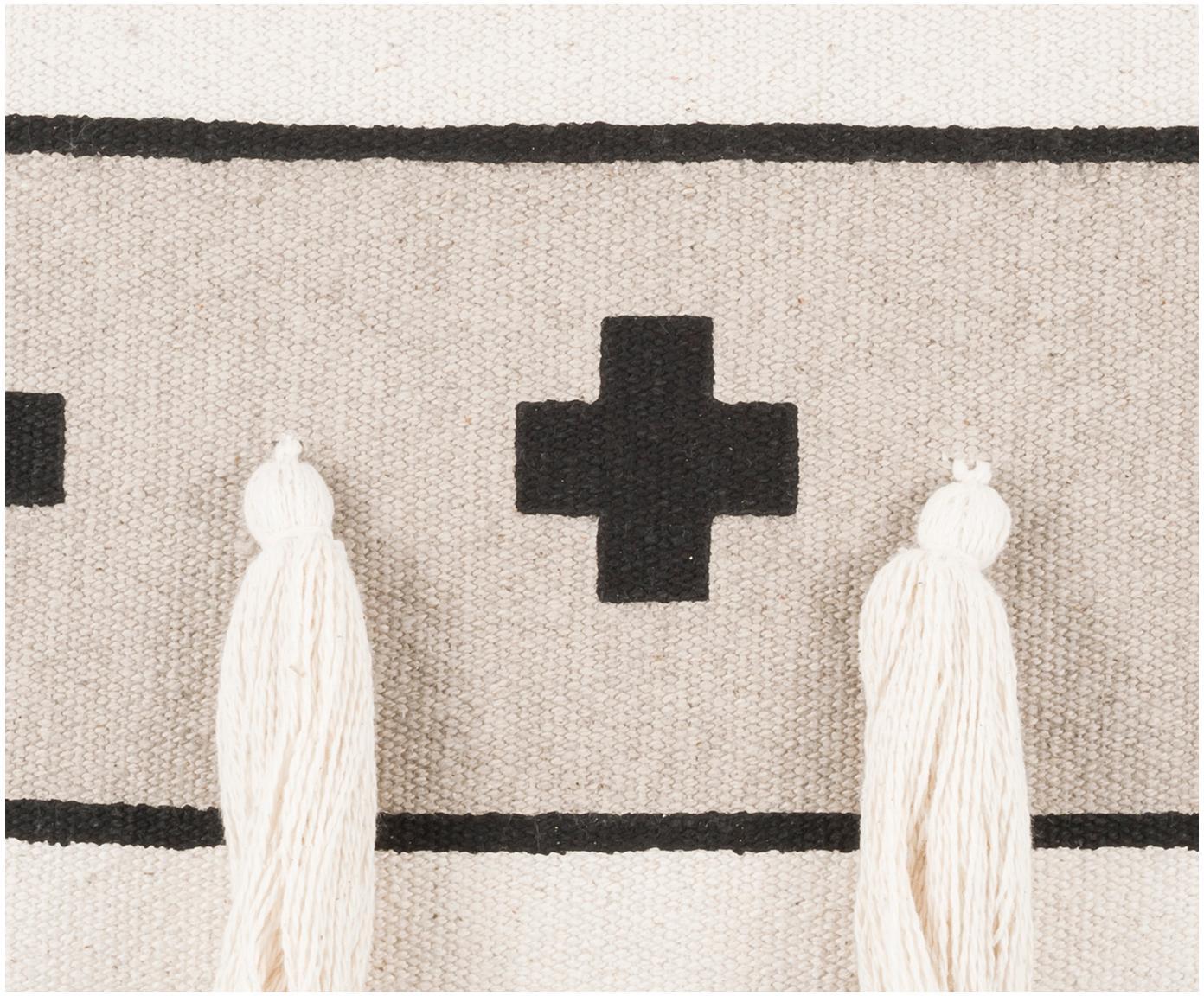 Ethno Kissenhülle Wildheart mit Quasten, 100% Baumwolle, Beige, Creme, Schwarz, 50 x 50 cm