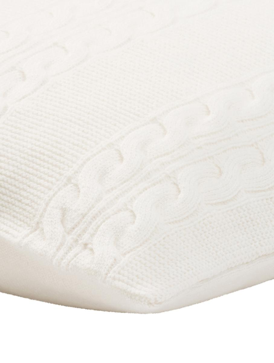 Reine Kaschmir-Kissenhülle Leonie mit Zopfmuster, 100% Kaschmir Kaschmir ist besonders weich, angenehm und wärmend, Cremeweiß, 40 x 40 cm