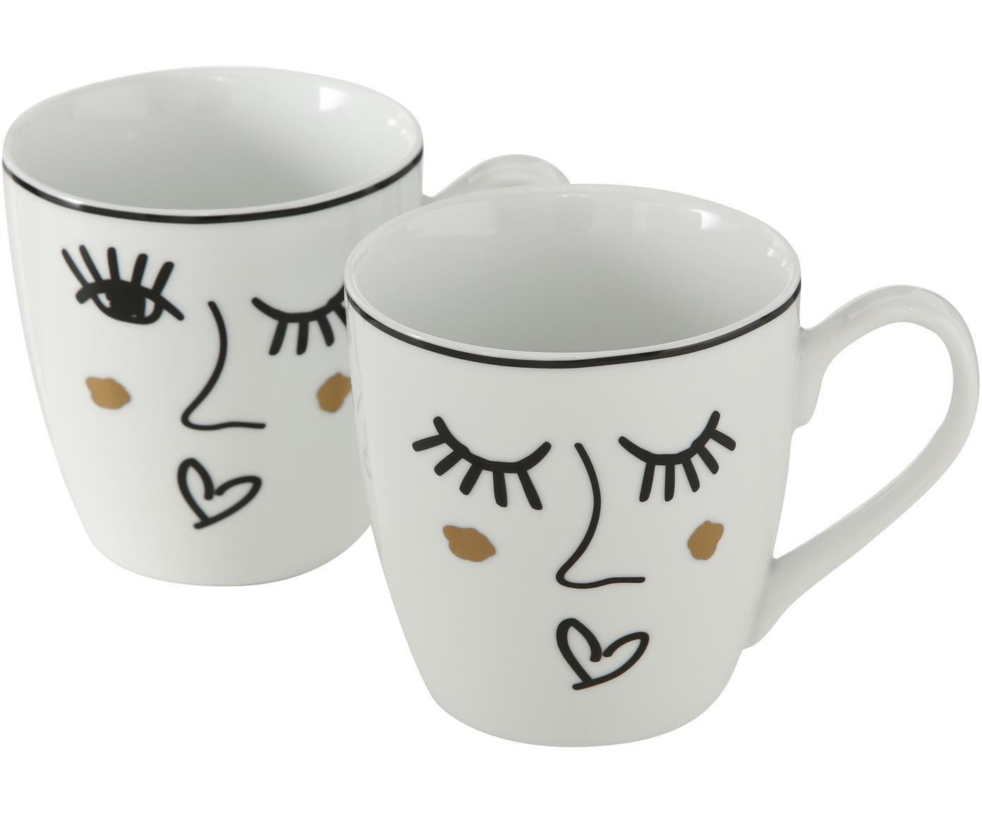 Tassen-Set Glamy, 2-tlg., Porzellan, Weiss, Schwarz, Ø 10 x H 10 cm