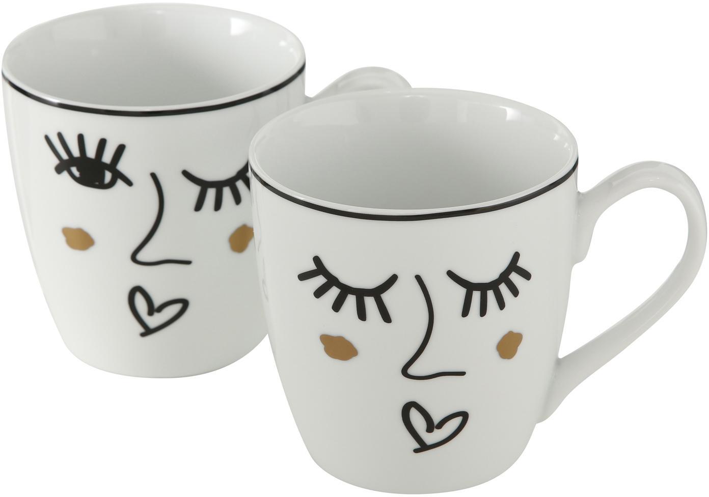Tassen Glamy mit Motiv, 2er-Set, Porzellan, Weiss, Schwarz, Goldfarben, Ø 10 x H 10 cm