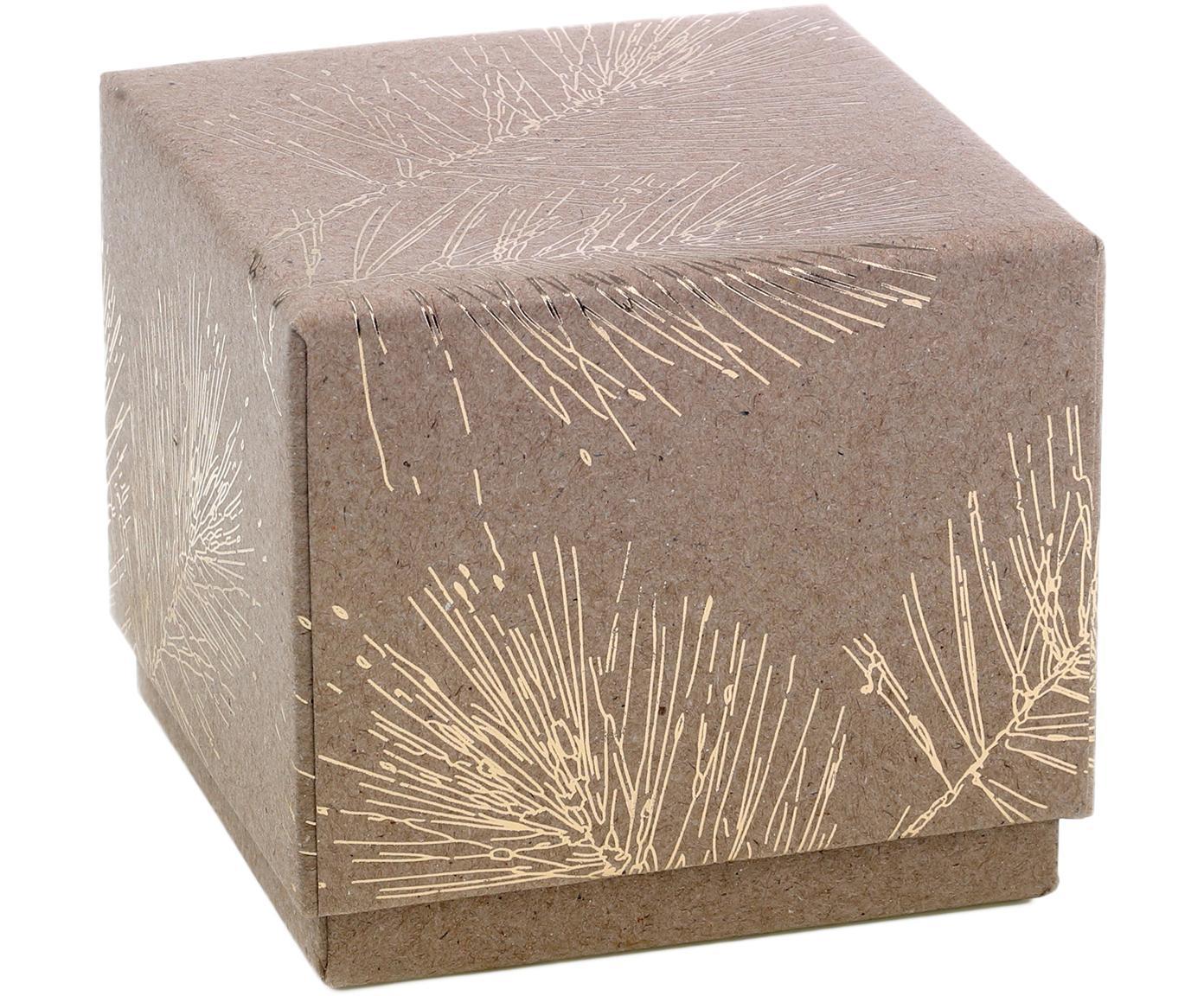 Geschenkbox Ferice, Kraftpapier, Braun, Goldfarben, 10 x 9 cm