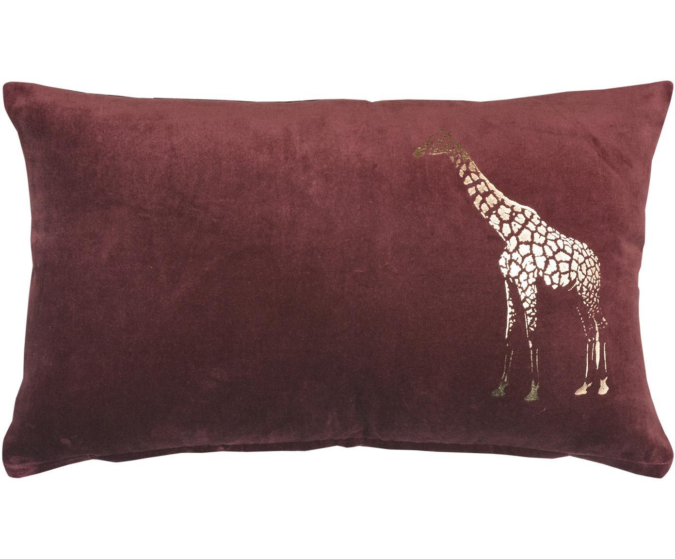 Samt-Kissen Giraffe, mit Inlett, Bezug: 100% Baumwolle, Bordeauxfarben, Goldfarben, 30 x 50 cm