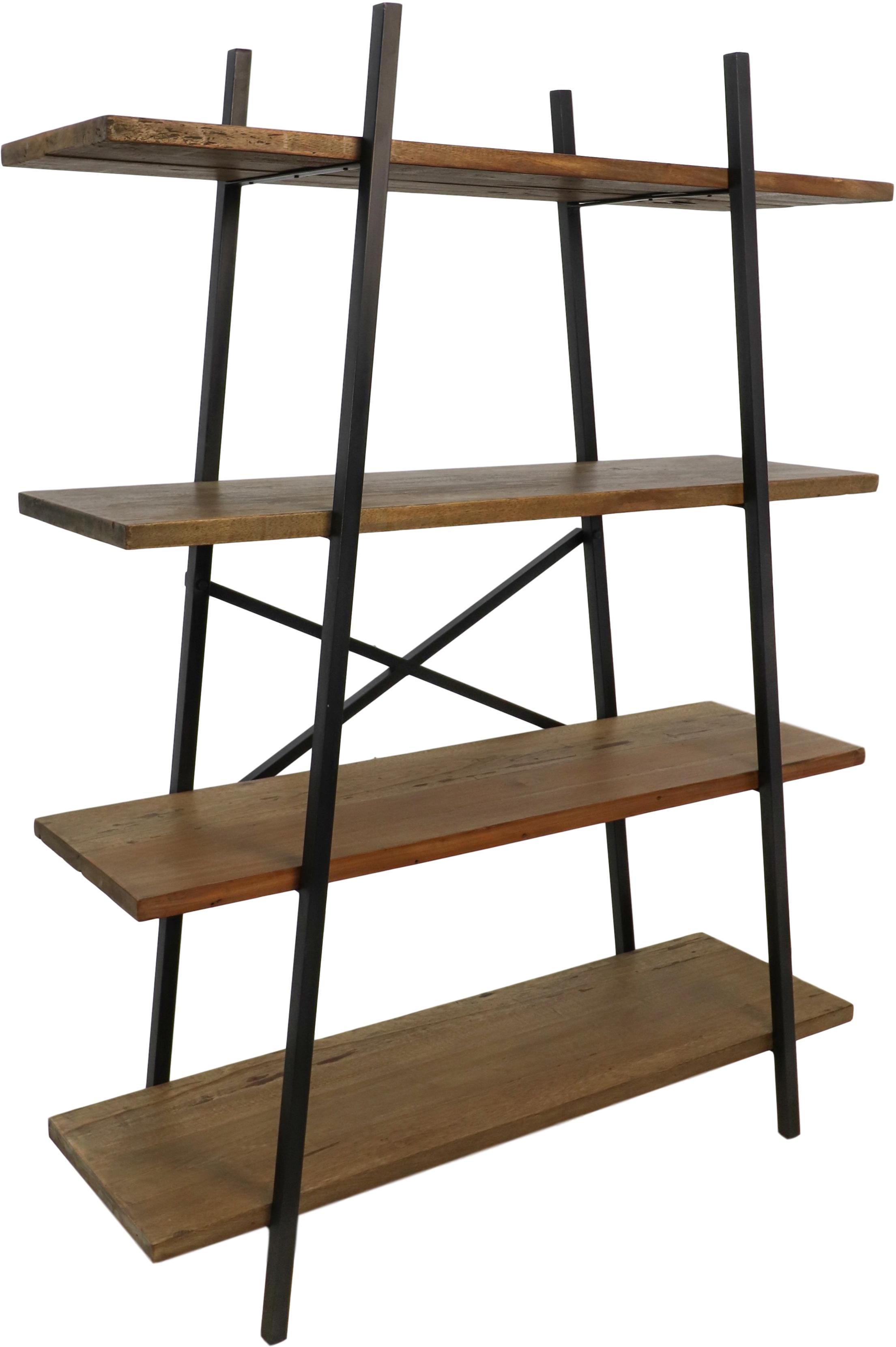 Estantería Levin, estilo industrial, Estantería: madera mixta de Java, Estructura: metal pintado, Marrón, negro, An 120 x Al 160 cm