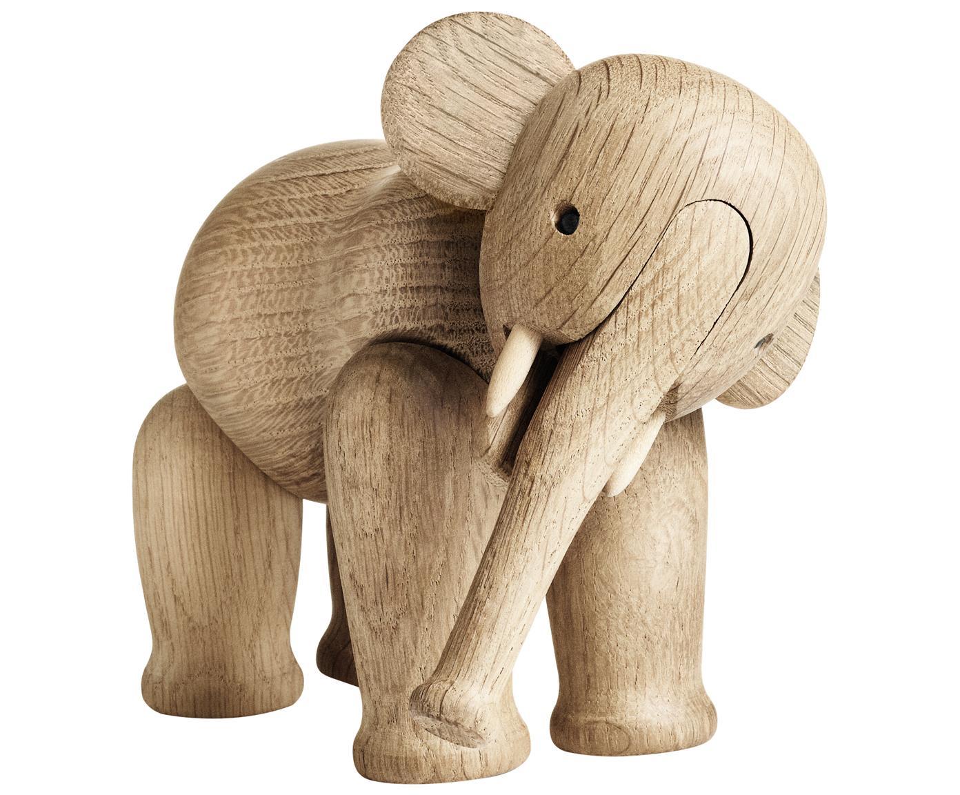 Designer-Deko-Objekt Elephant, Eichenholz, Eichenholz, lackiert, Eichenholz, 17 x 13 cm