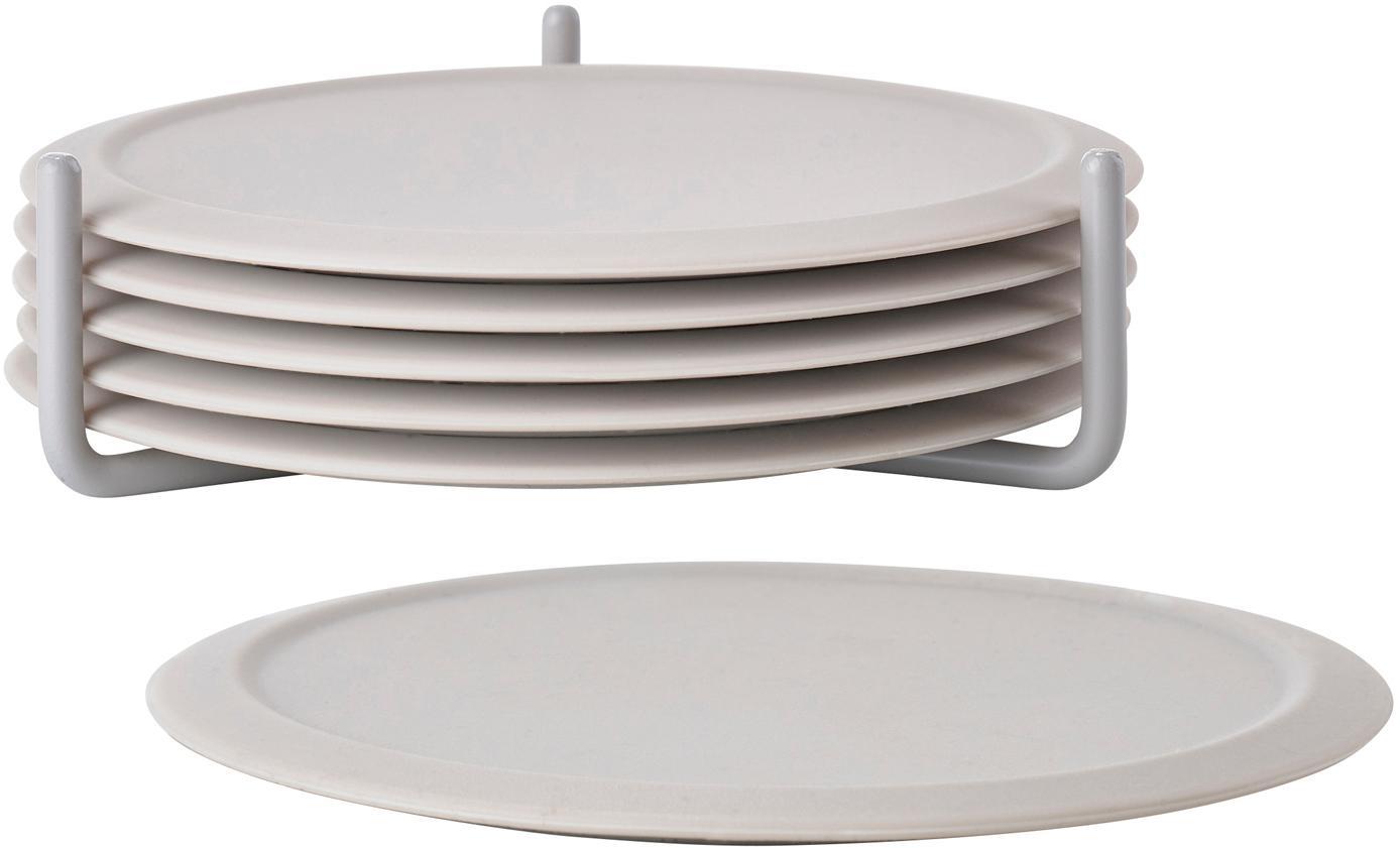 Onderzettersset Plain, 7-delig, Onderzetter: antislip silicone, Houder: metaal, Gebroken wit, Ø 10 cm