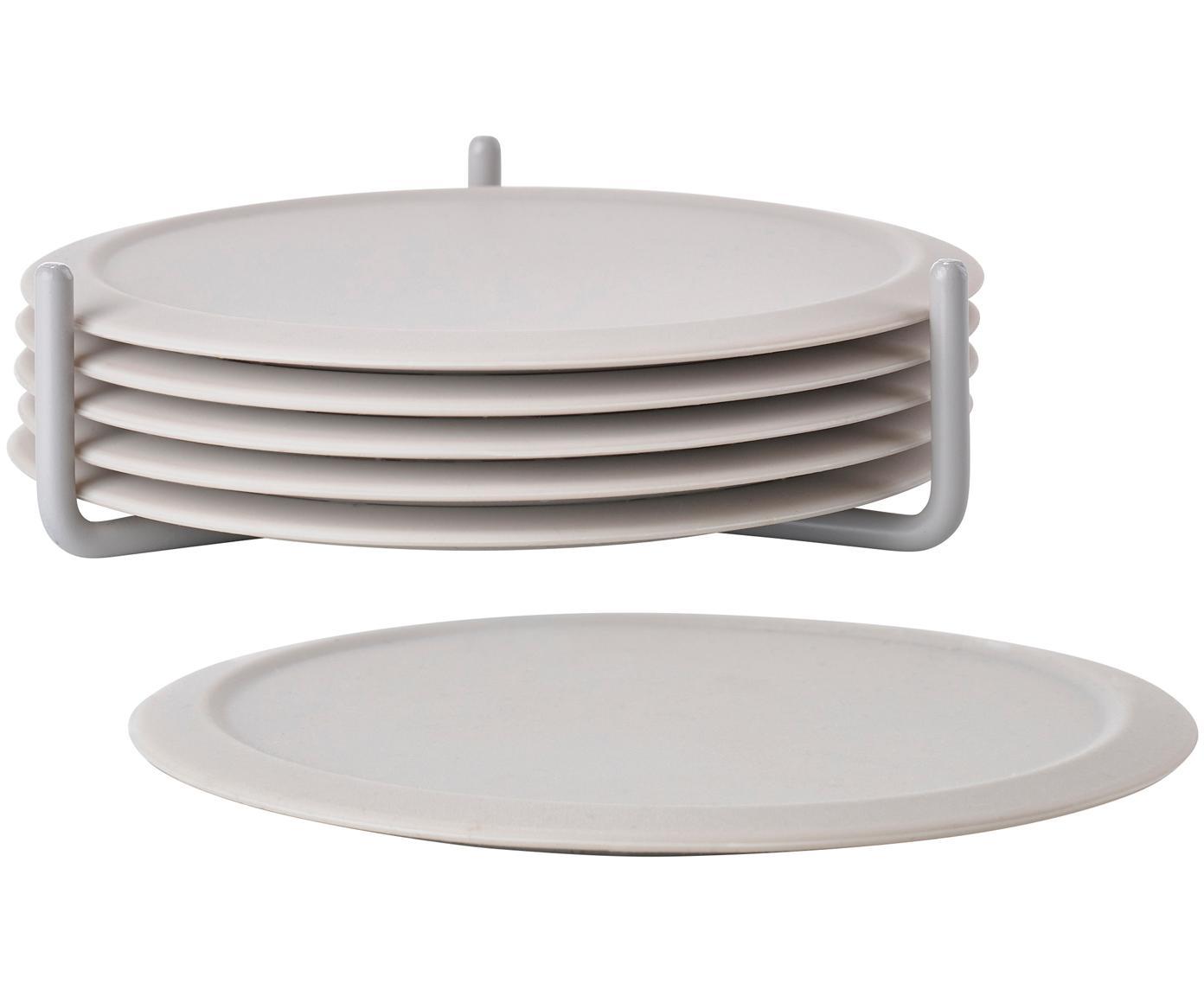 Set de posavasos Plain, 7pzas., Blanco crudo, Ø 10 cm