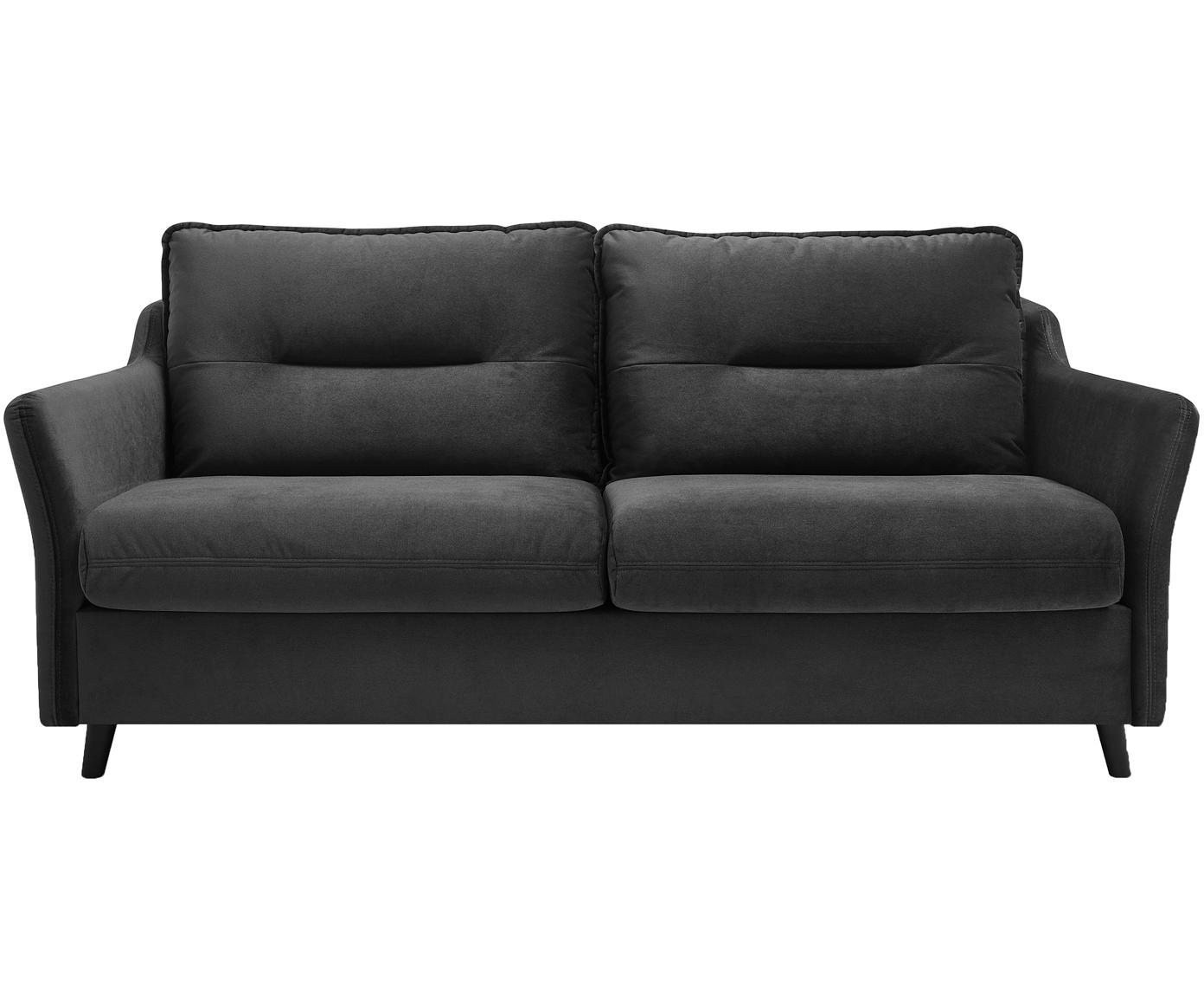 Sofa rozkładana z aksamitu Loft (3-osobowa), Tapicerka: 100% aksamit poliestrowy, Nogi: metal lakierowany, Ciemny szary, S 191 x G 100 cm