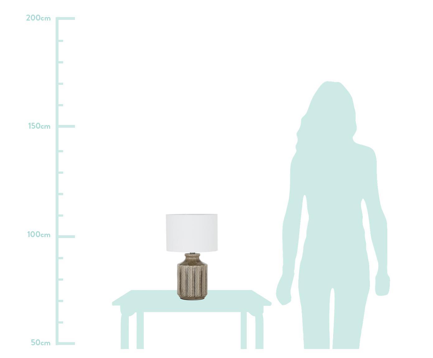 Keramik-Tischlampe Nia, Lampenschirm: Textil, Lampenfuß: Keramik, Metall, vernicke, Lampenschirm: WeißLampenfuß: Braun, Nickel, Ø 26 x H 43 cm